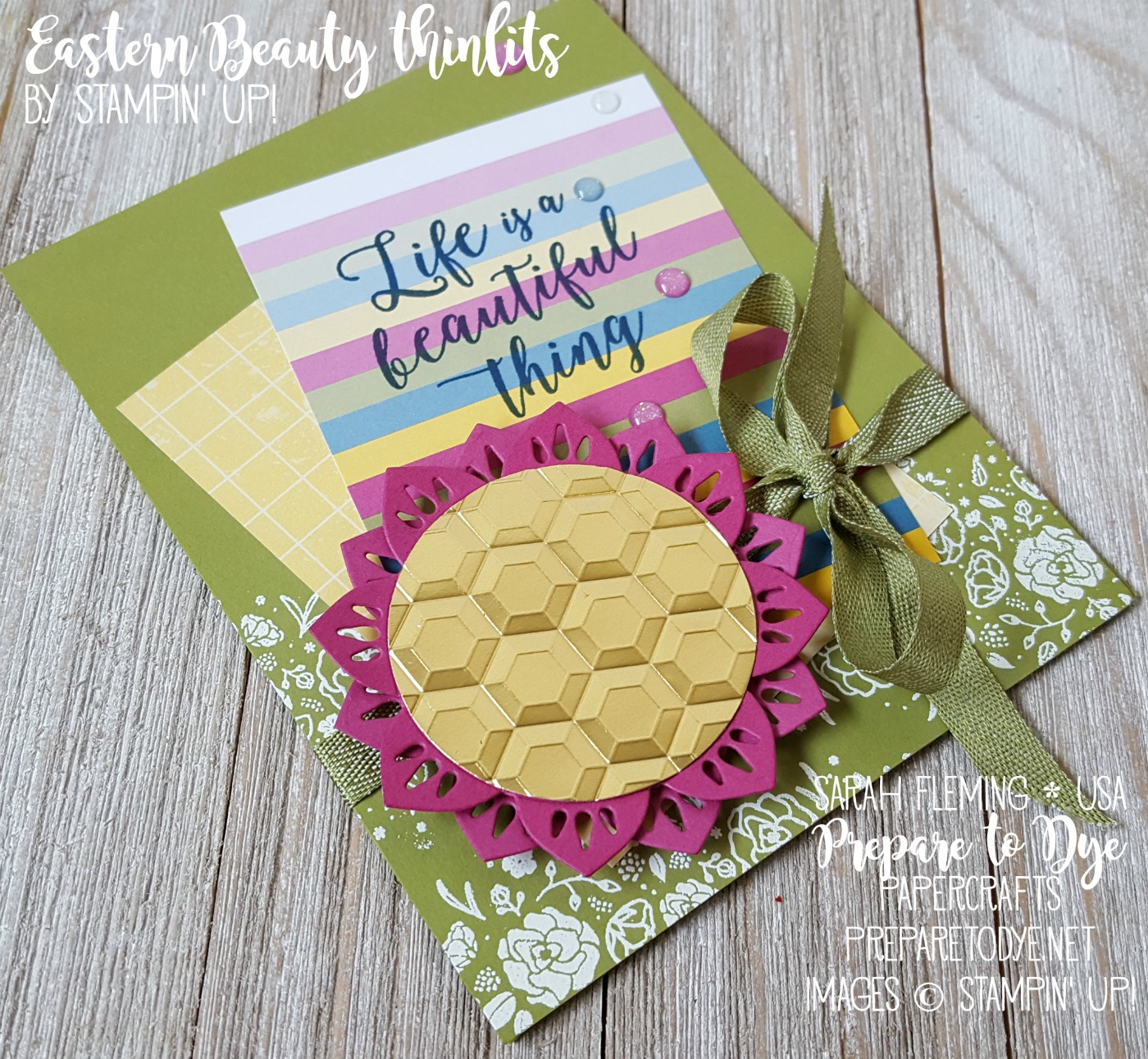 Stampin' Up! Color Theory Memories & More card pack with Eastern Medallions thinlits, Colorful Seasons stamps, Wood Words stamps, Hexagon Dynamic embossing folder and new Mini Chevron Ribbon - Splitcoaststampers Creative Crew - Sarah Fleming - Prepare to Dye Papercrafts