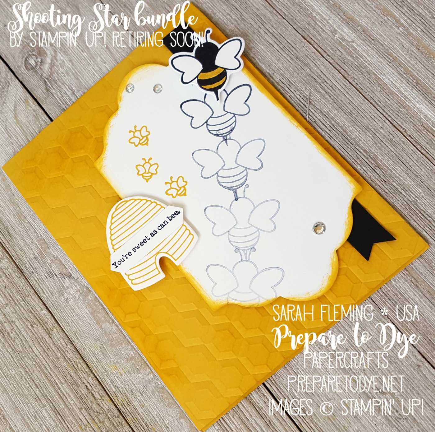 Stampin' Up! Shooting Star bundle is retiring soon! I love it with a little motion stamping and the Hexagons Dynamic Embossing Folder - Sarah Fleming - Prepare to Dye Papercrafts