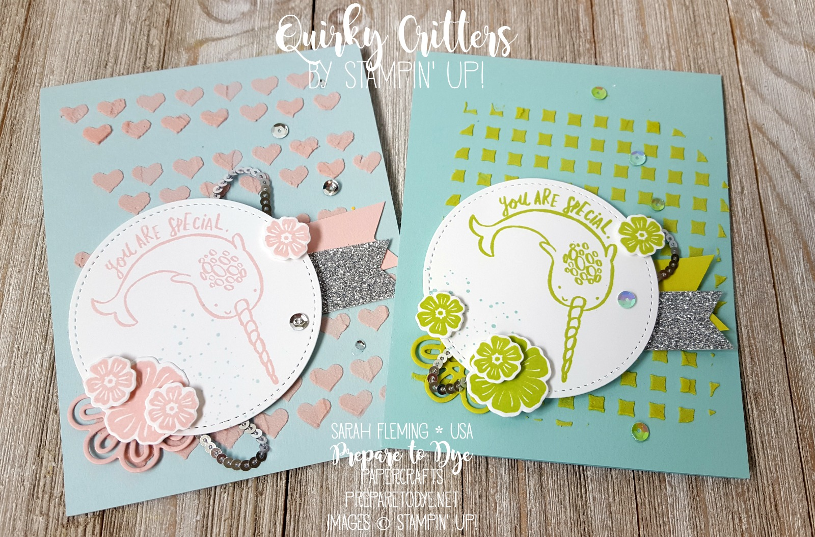 Stampin' Up! Quirky Critters, embossing paste, Beautiful Bouquet bundle, Support Ribbon framelits, silver mini sequin trim - Kylie's International Blog Highlights - handmade baby card - Sarah Fleming - Prepare to Dye Papercrafts