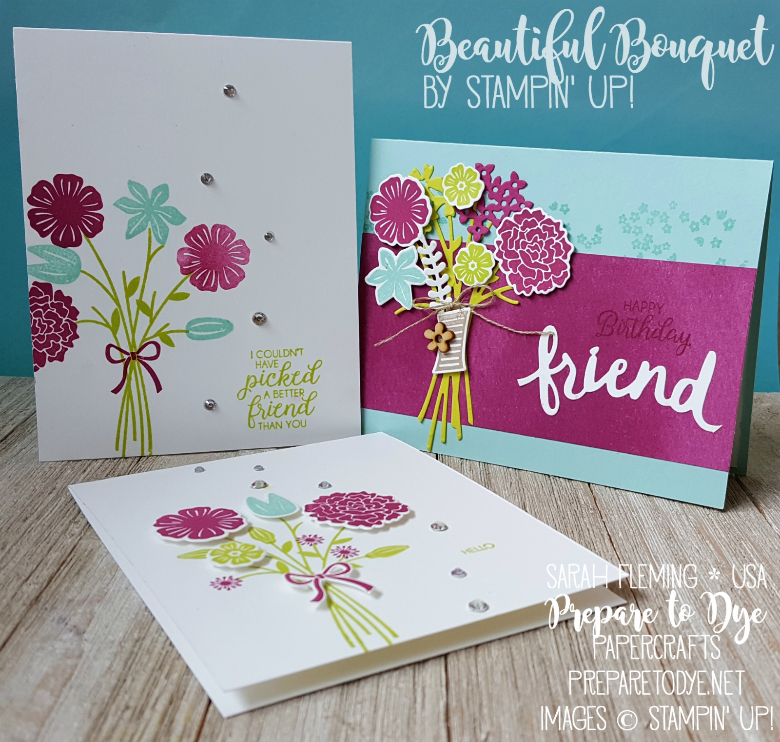 Stampin' Up! Beautiful Bouquet bundle with Bouquet Bunch framelits and Lovely Words thinlits - Creativity Your Way Facebook Live session - Sarah Fleming - Prepare to Dye Papercrafts - #GDP093