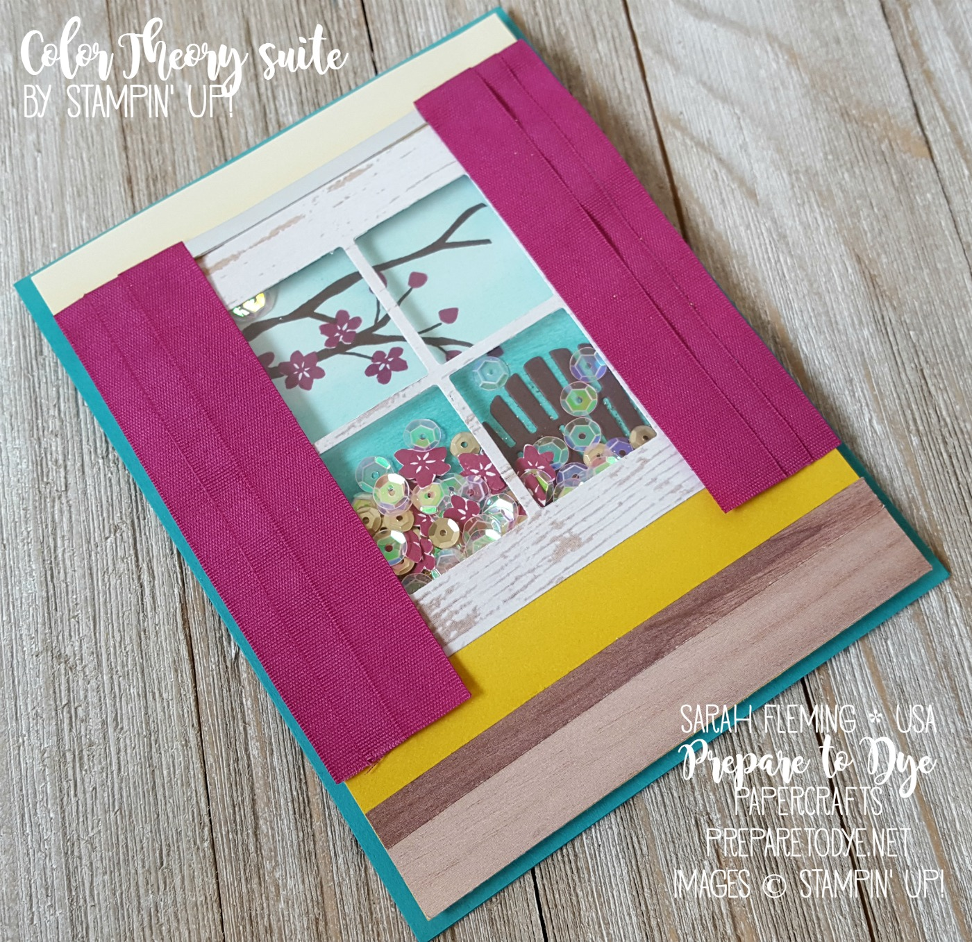 Stampin' Up! Colorful Seasons bundle with Color Theory and Wood Texture papers - shaker card - handmade retirement card - Sarah Fleming - Prepare to Dye Papercrafts