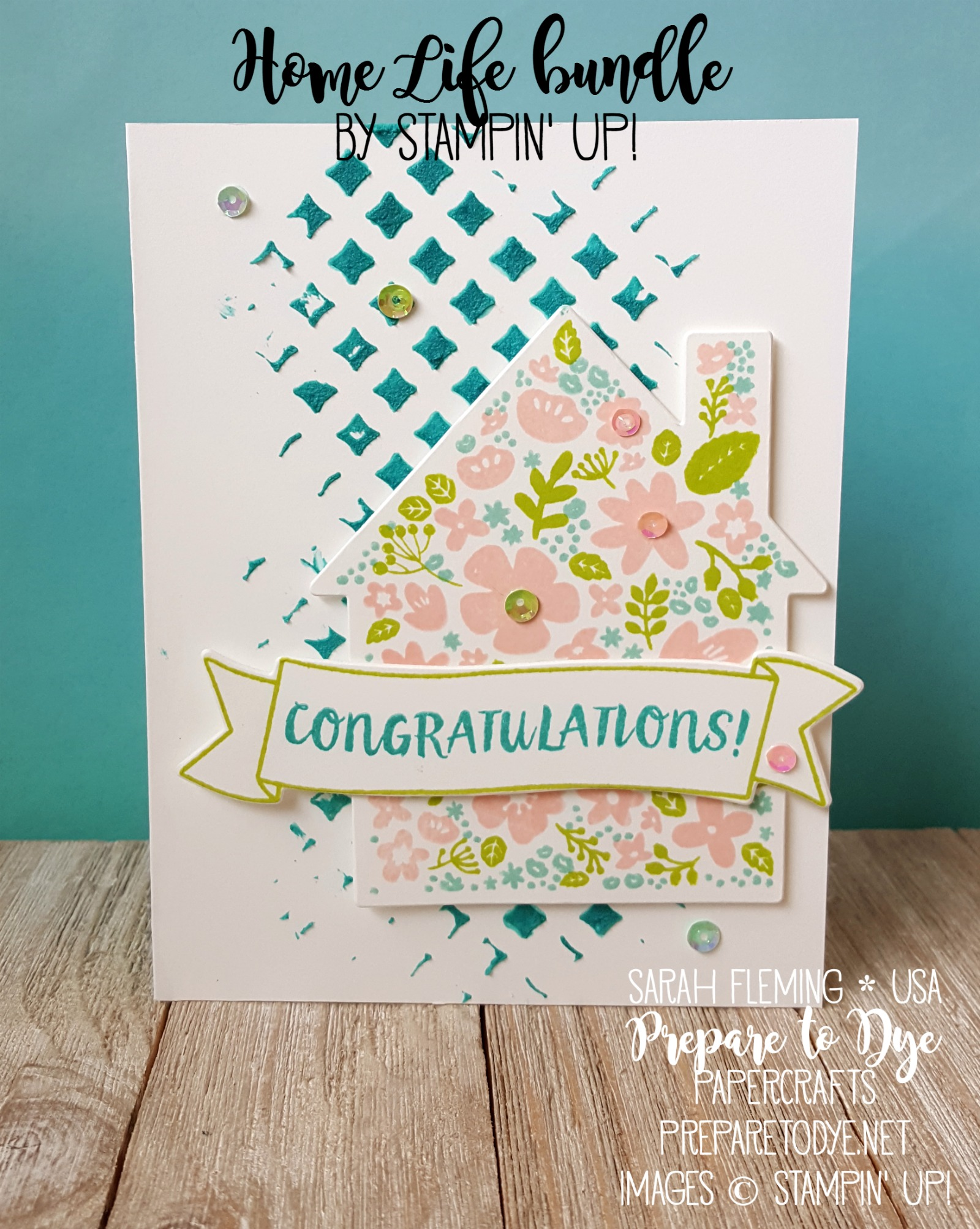 Stampin' Up! Home Life bundle with Welcome Home framelits, Embossing Paste, and Pattern Party masks - handmade card - Sarah Fleming - Prepare to Dye Papercrafts - Stamping Sunday