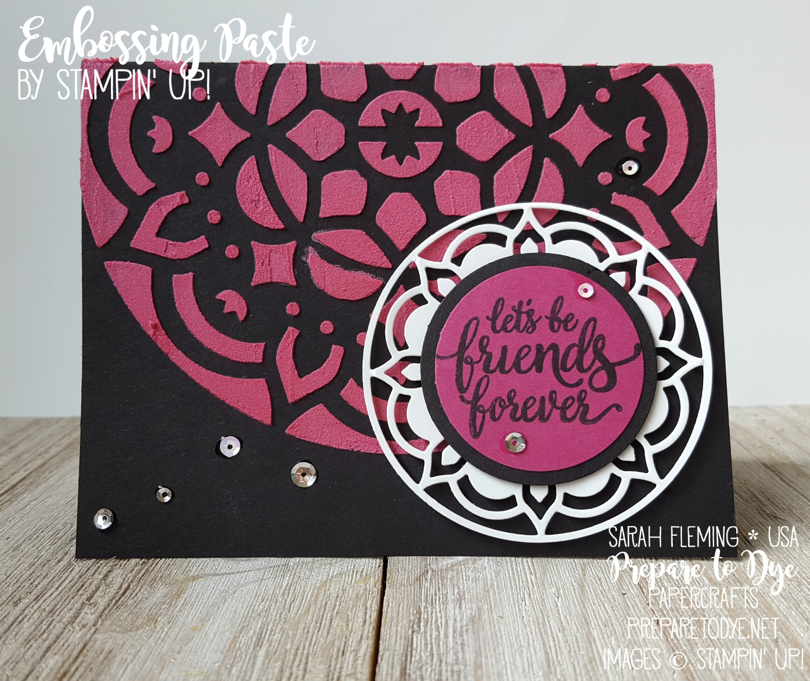 Stampin' Up! Eastern Beauty bundle with Eastern Medallion thinlits, Pattern Party Decorative Masks, and Embossing Paste