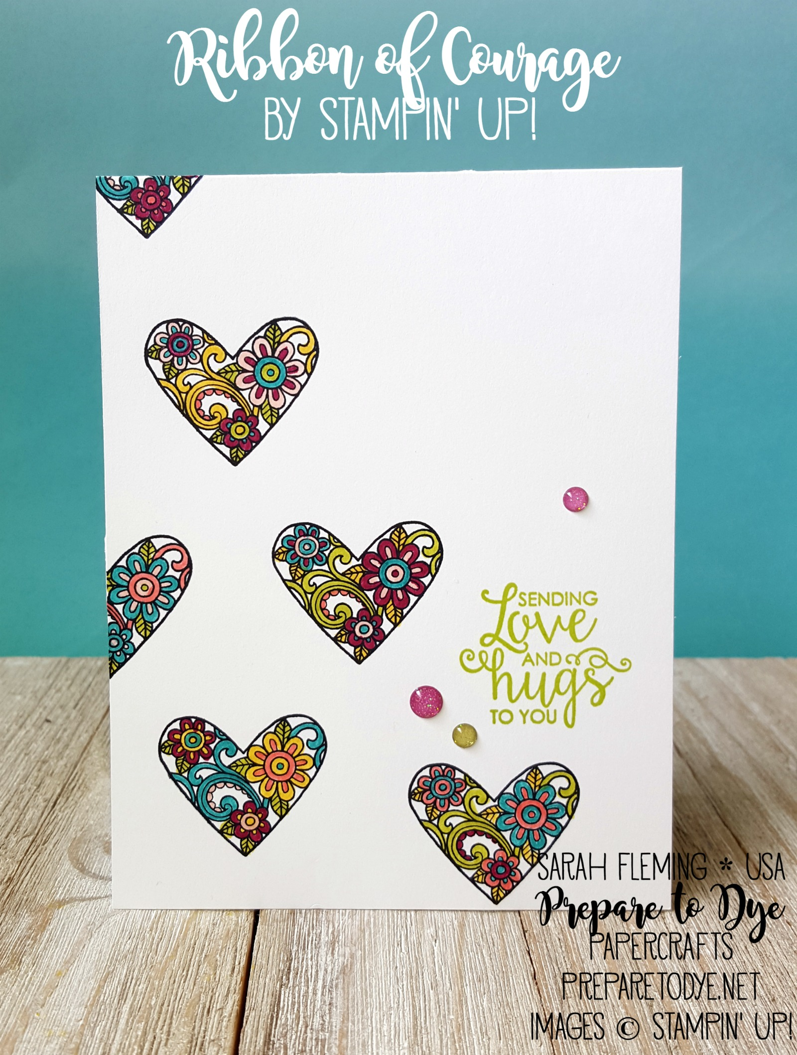 Stampin' Up! Ribbon of Courage - clean and simple handmade card - CAS - glitter enamel dots - Sarah Fleming - Prepare to Dye Papercrafts