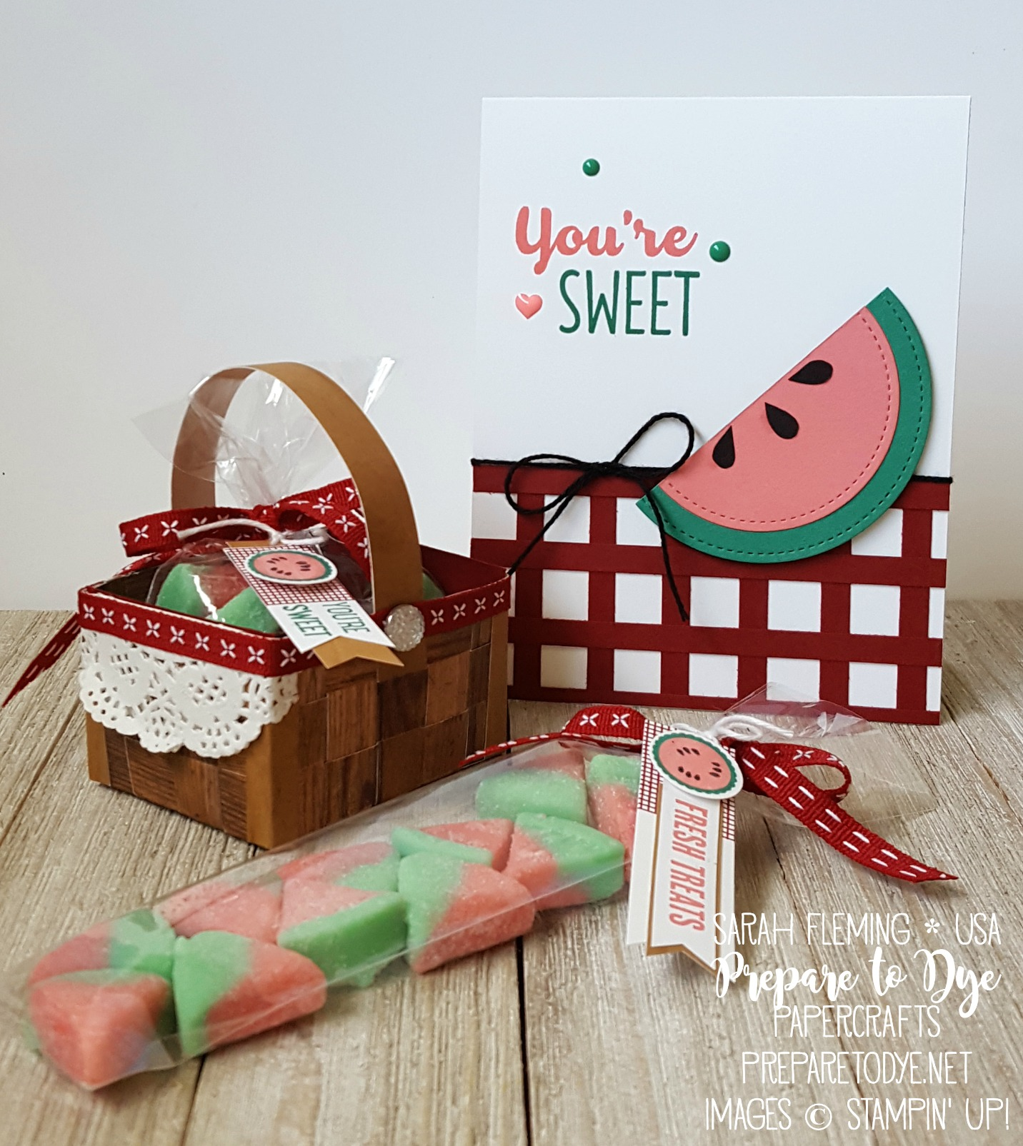 Stampin' Up! picnic-themed goodies and handmade card - paper picnic basket with Wood Textures dsp stack, treat container, basket weave, watermelon, Cool Treats, Tabs for Everything - Sarah Fleming - Prepare to Dye Papercrafts