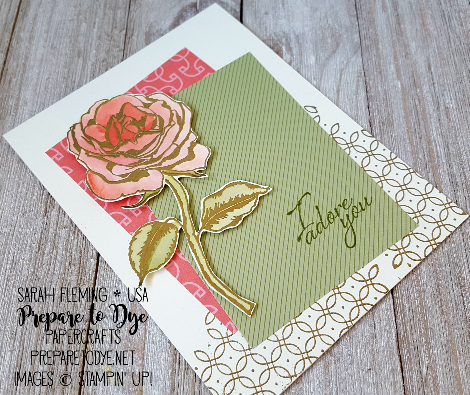 Stampin' Up! Graceful Garden with Petal Garden Memories & More, heat embossing - Sarah Fleming - Prepare to Dye Papercrafts
