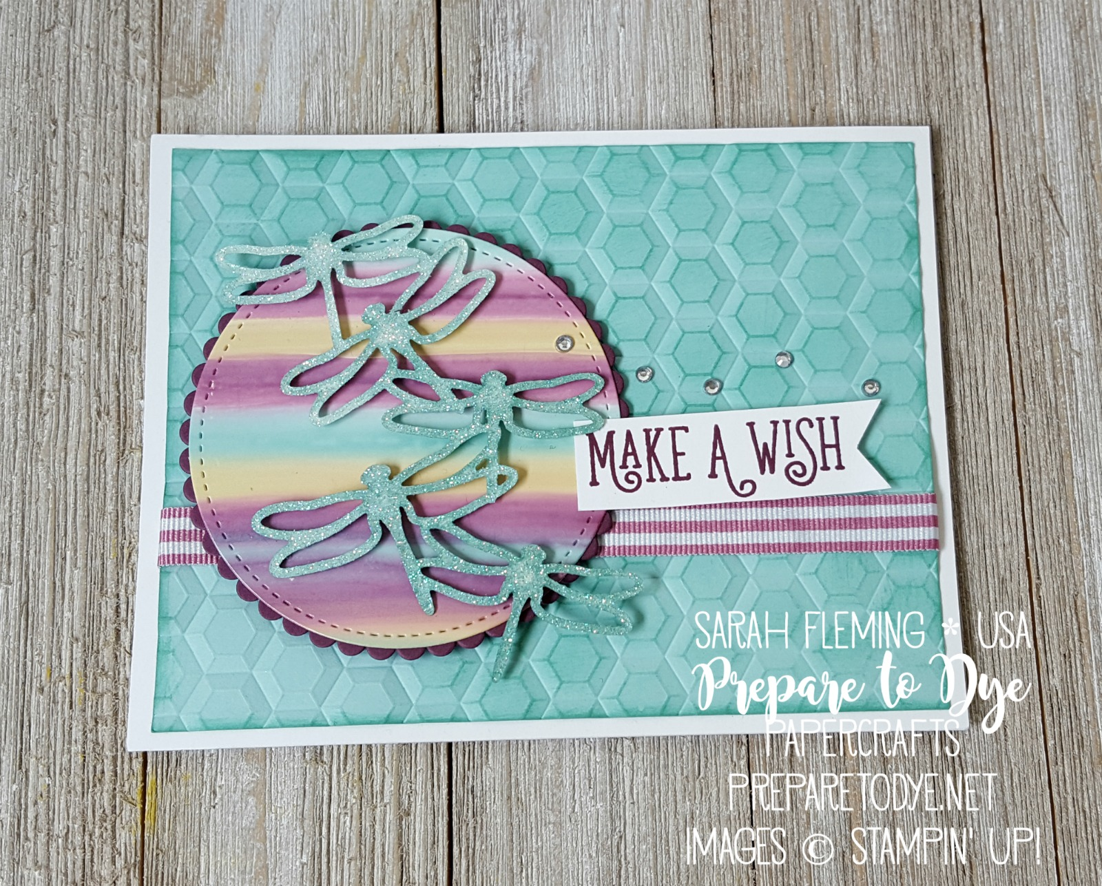 Stampin' Up! Happy Birthday Gorgeous with Detailed Dragonfly Thinlits , glossy cardstock, Hexagons Dynamic embossing folder
