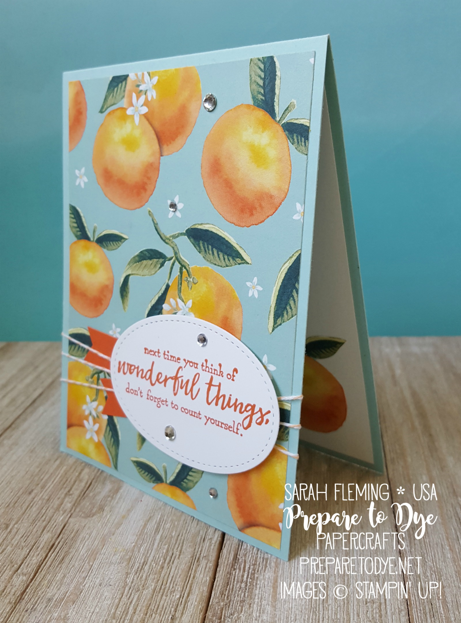 Stampin' Up! Whole Lot of Lovely paper and Just Add Text stamps - RAK Card Group blog hop - Sarah Fleming - Prepare to Dye Papercrafts