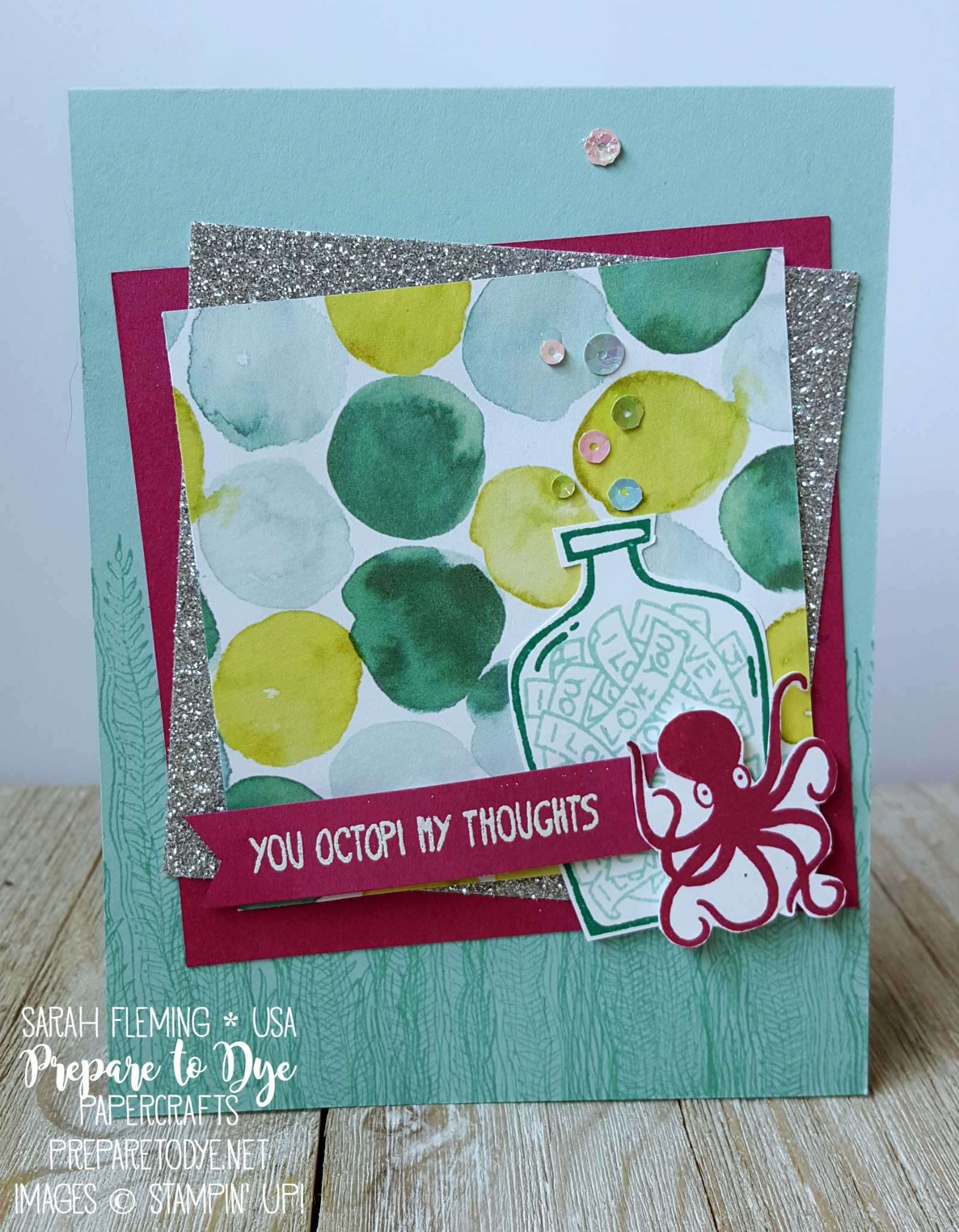 Stampin' Up! Message in a Bottle and Magical Mermaid stamps with Naturally Eclectic designer series paper - Stampin' Dreams Blog Hop - Sarah Fleming - Prepare to Dye Papercrafts