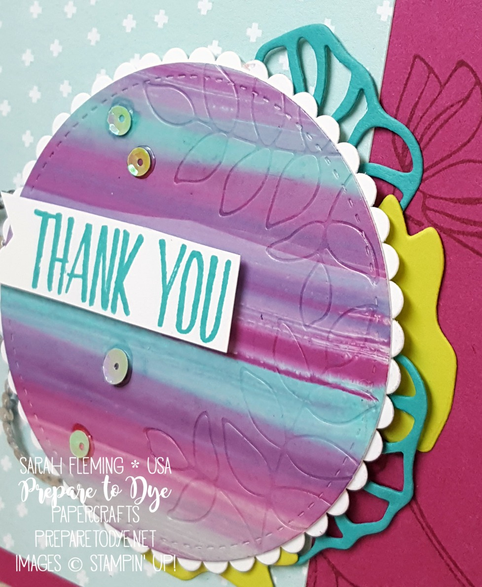 Stampin' Up! Oh So Eclectic bundle, Naturally Eclectic designer series paper, Eclectic Layers Thinlits, Striped Wipe technique with glossy cardstock - Sarah Fleming - Prepare to Dye Papercrafts