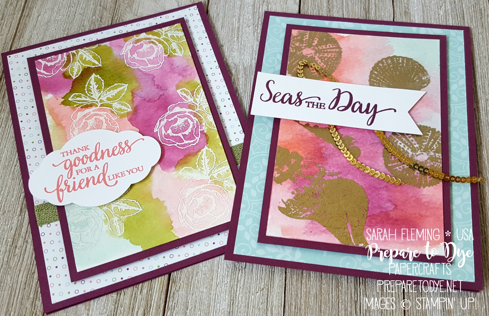 Stampin' Up! Graceful Garden and So Many Shells with Petal Garden designer series paper stack - watercolor emboss resist - Sarah Fleming - Prepare to Dye Papercrafts