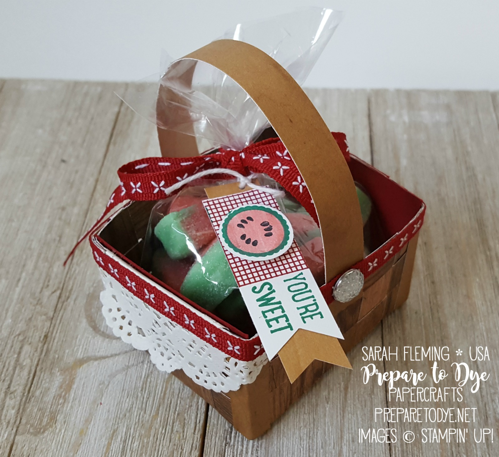 Stampin' Up! Wood Textures dsp stack, basket weave paper picnic basket, watermelon candy treat container, Tabs for Everything