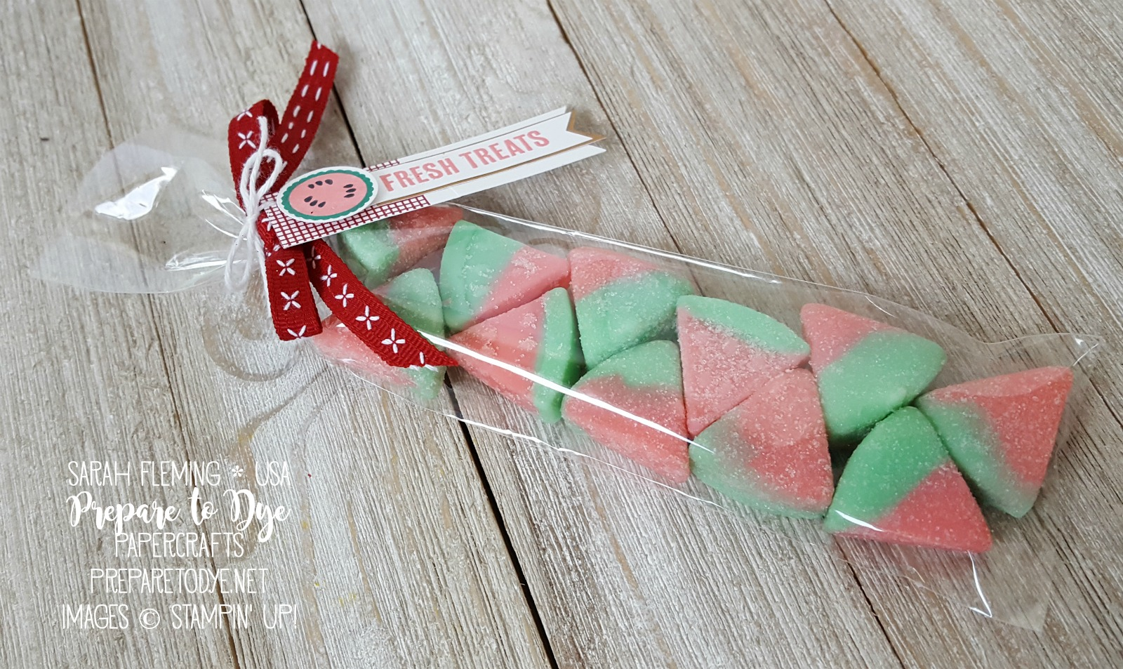 "Stampin' Up! simple watermelon candy treat packaging, Tabs for Everything, 1/4"" Double Stitched Ribbon - Sarah Fleming - Prepare to Dye Papercrafts"