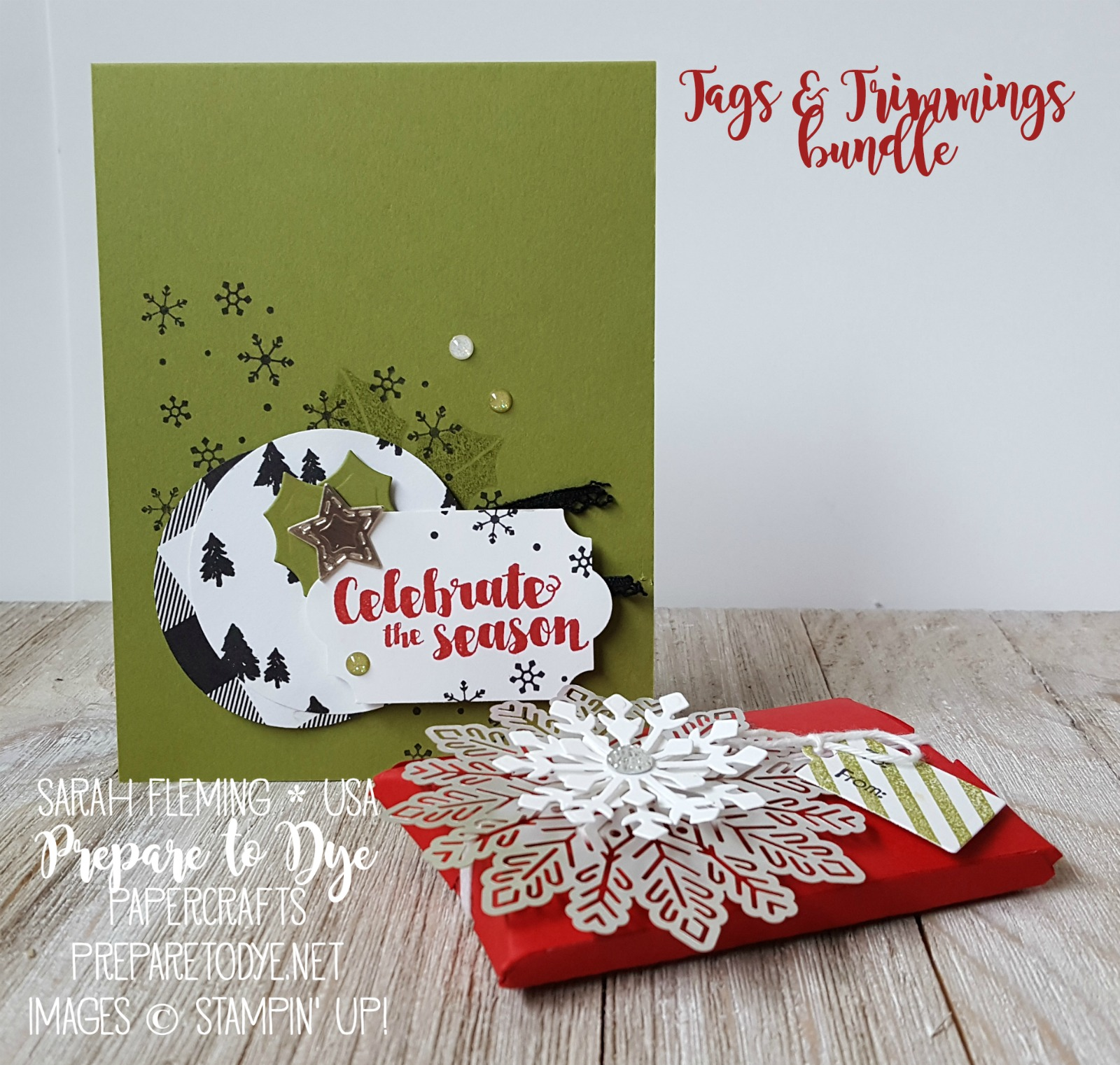 Stampin' Up! Tags & Trimmings bundle with Trim Your Stocking thinlits, Foil Snowflakes, Merry Little Christmas paper - Sarah Fleming - Prepare to Dye Papercrafts - stampinup #6monthstampingoals #aimforalaska