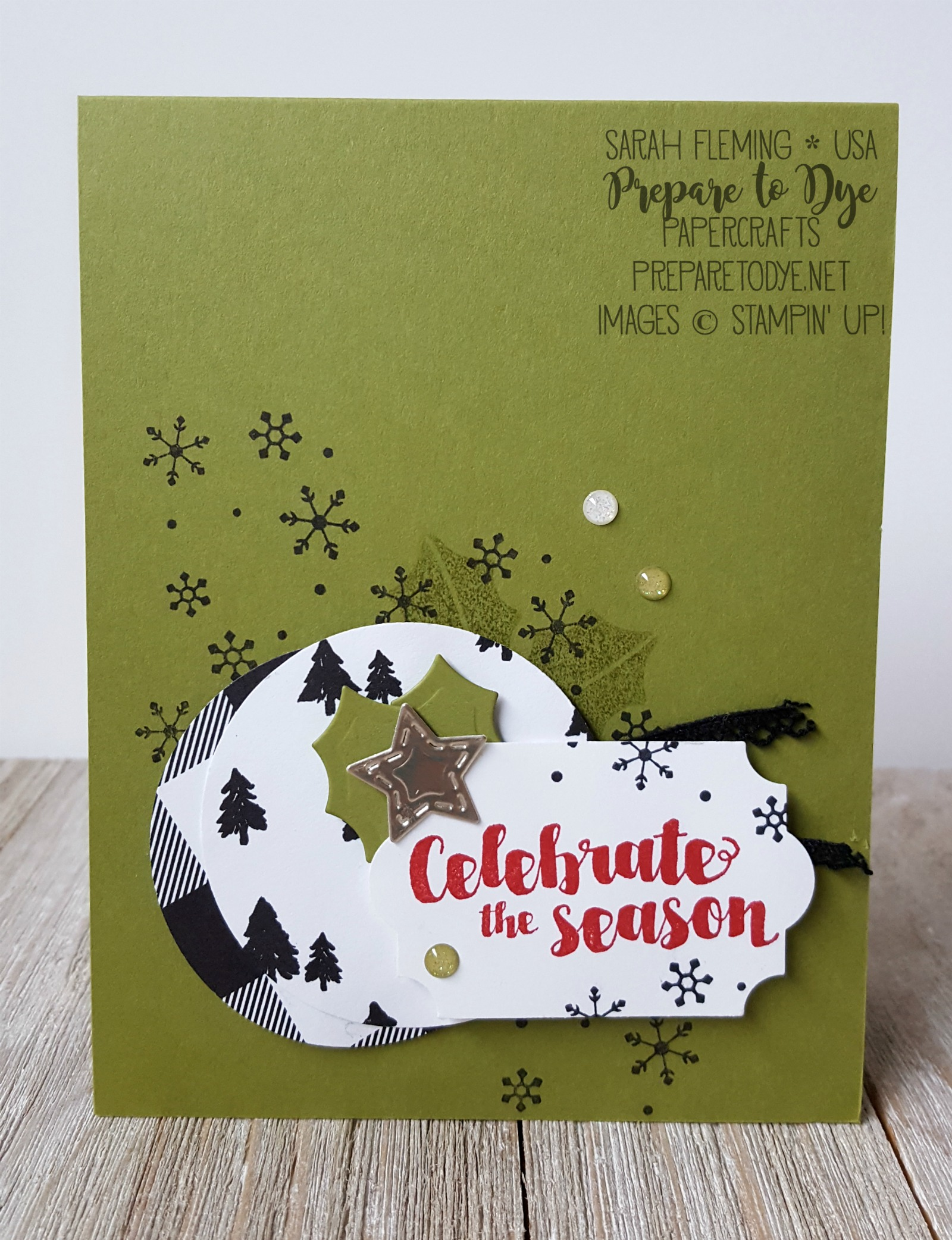 Stampin' Up! Tags & Trimmings bundle with Trim Your Stocking thinlits, Merry Little Christmas paper - Sarah Fleming - Prepare to Dye Papercrafts - stampinup #6monthstampingoals #aimforalaska