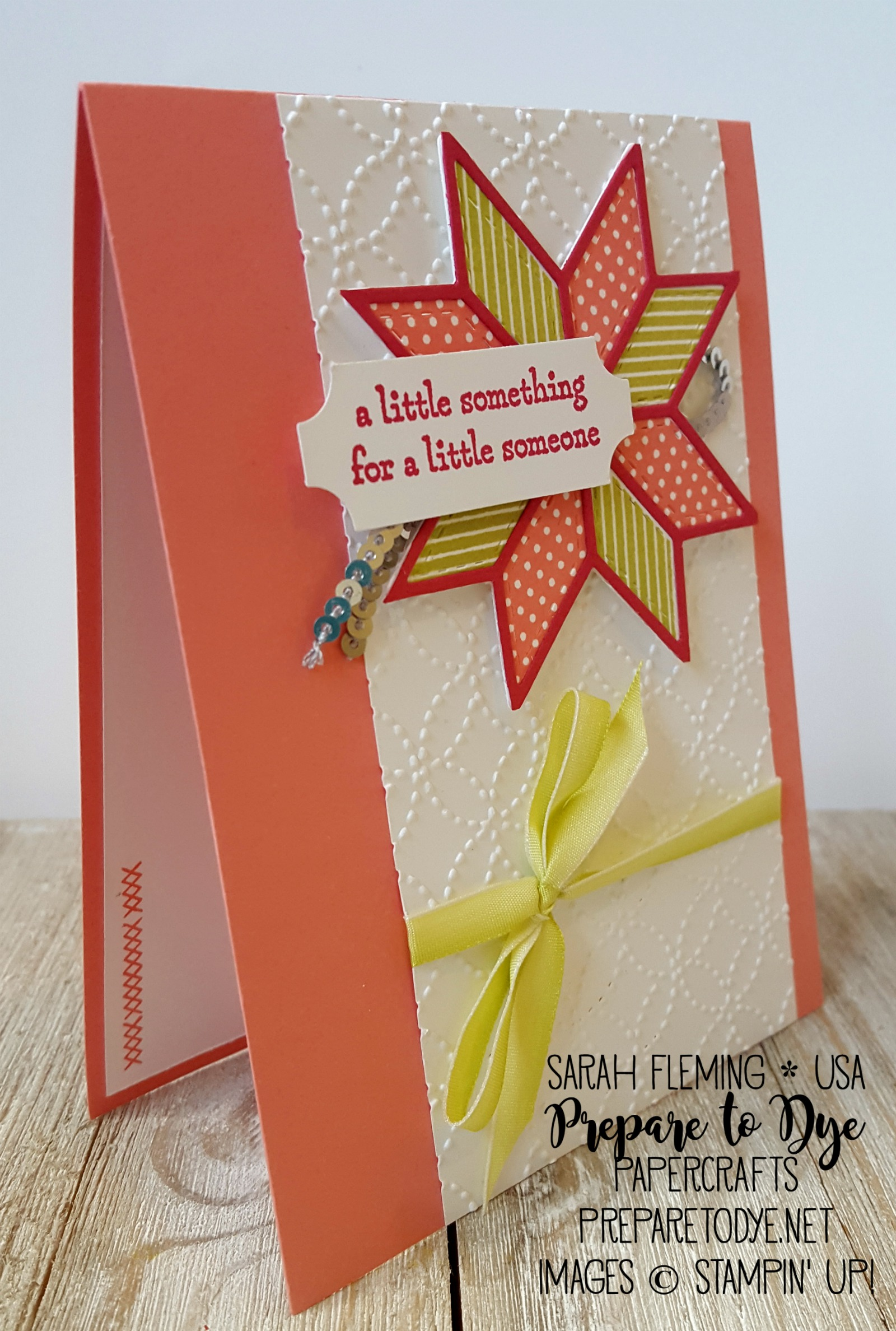 Stampin' Up! Christmas Quilt bundle with Quilt Builder framelits and Quilt Top Embossing folder, Lemon-Lime Twist Ombre Ribbon and Silver Mini Sequin Trim - handmade baby card - Sarah Fleming - Prepare to Dye Papercrafts