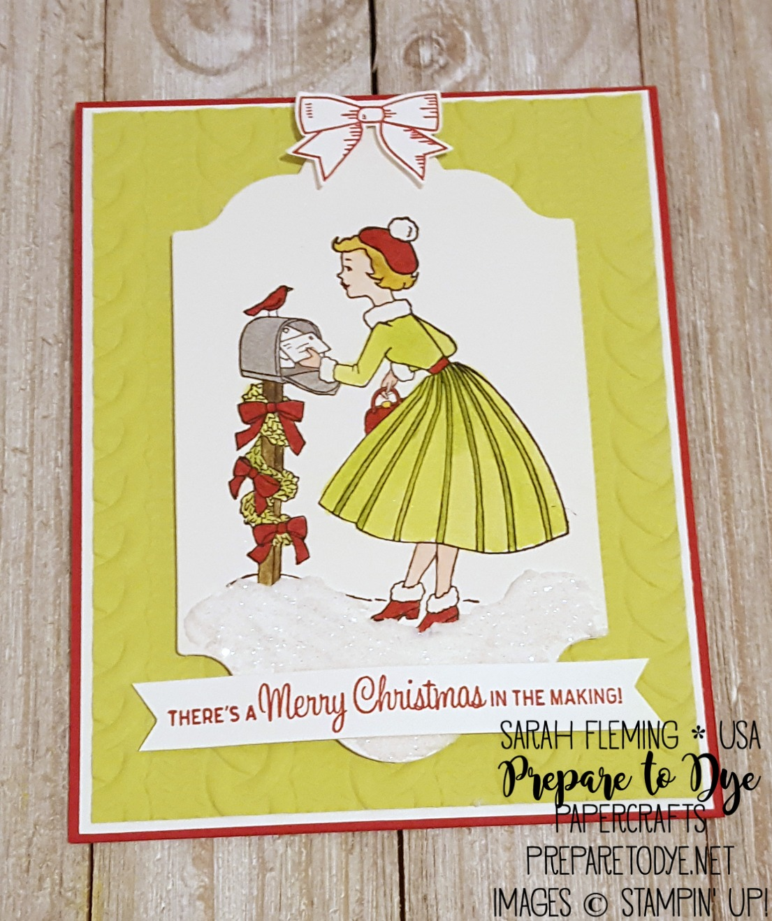 Stampin' Up! Christmas in the Making stamp set with Cable Knit embossing folder, Embossing Paste - Sarah Fleming - Prepare to Dye Papercrafts