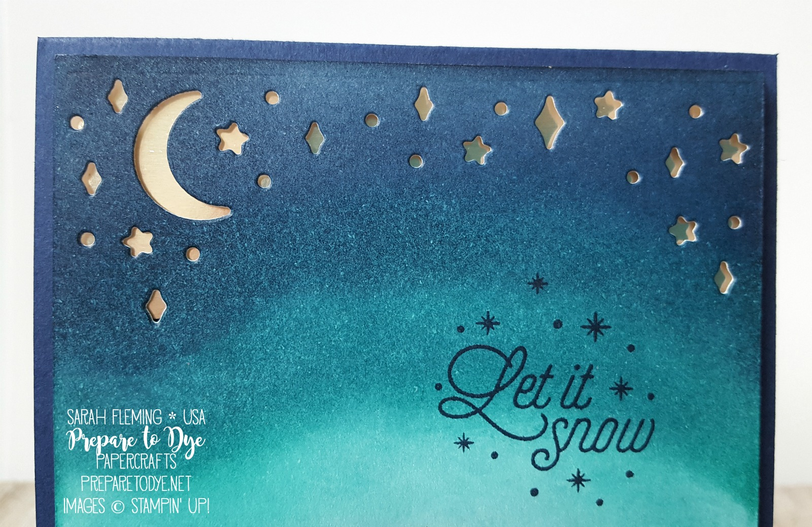 Stampin' Up! Card Front Builder Thinlits dies, Merry Little Labels stamps, Champagne Foil Sheets, Embossing Paste - sponged night time sky - handmade Christmas card - Sarah Fleming - Prepare to Dye Papercrafts - #GDP101