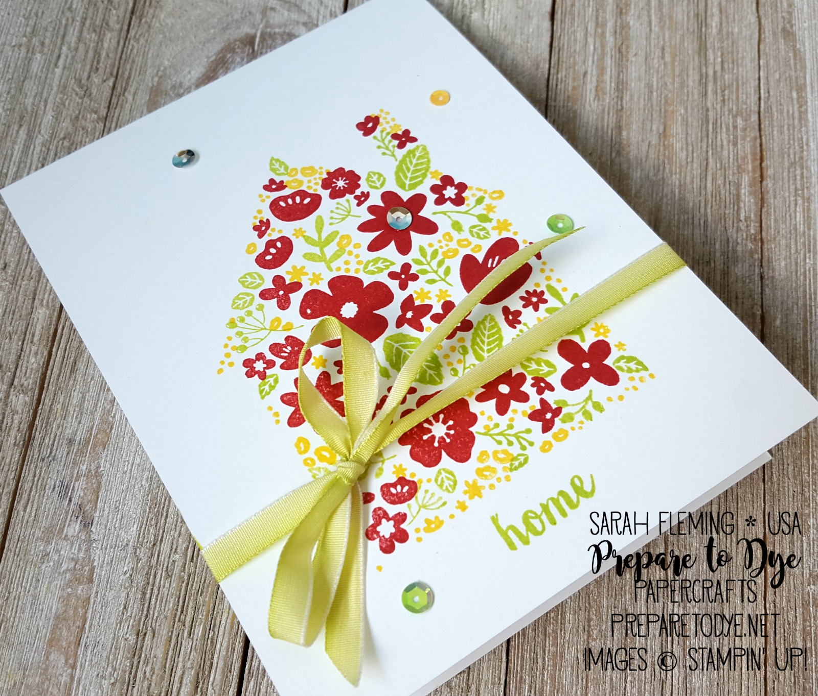 "Stampin' Up! Home Life bundle with Welcome Home framelits and Lemon-Lime Twist 1/4"" Ombre Ribbon"
