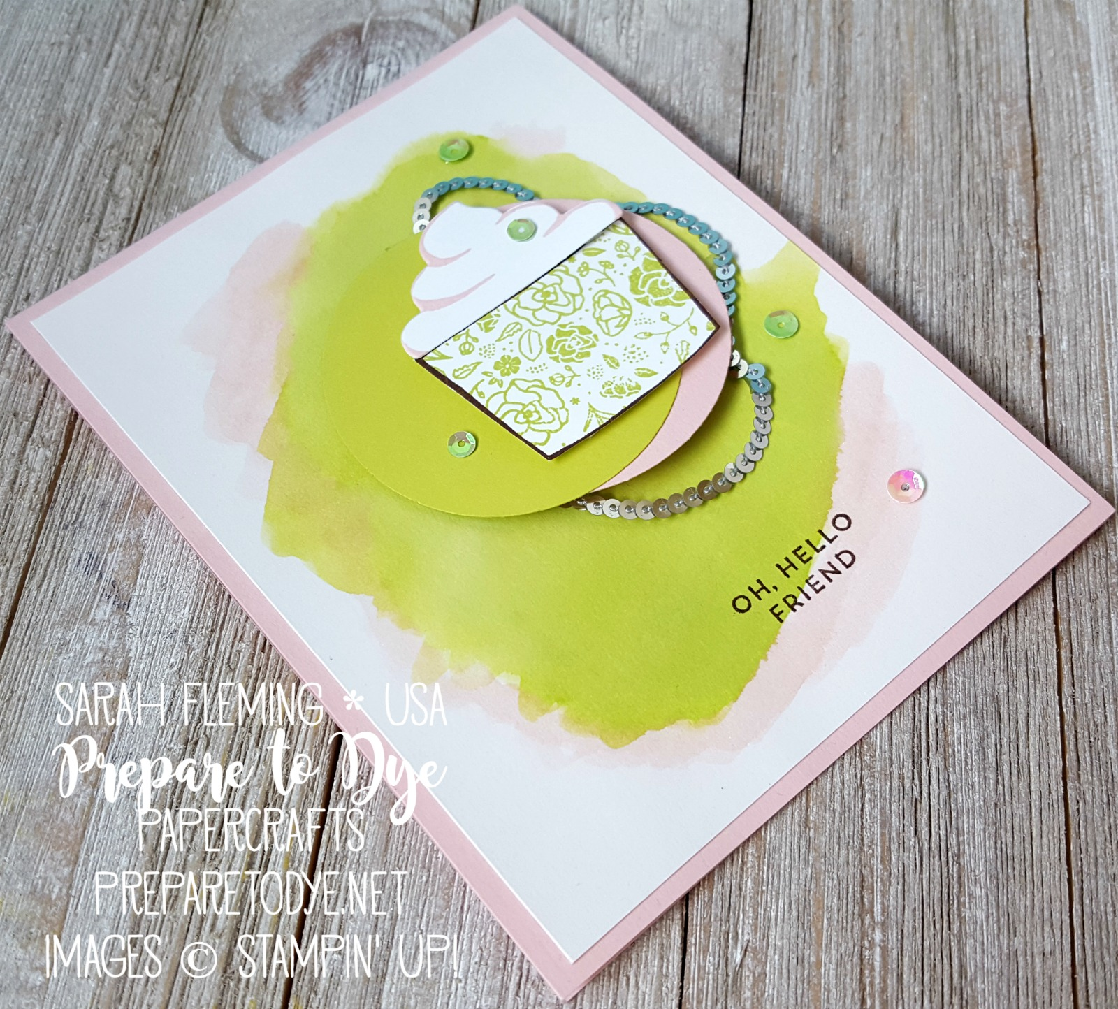 Stampin' Up! Coffee Cafe bundle with Coffee Cups framelits and Oh So Eclectic - watercolor wash - ice cream handmade card - Sarah Fleming - Prepare to Dye Papercrafts
