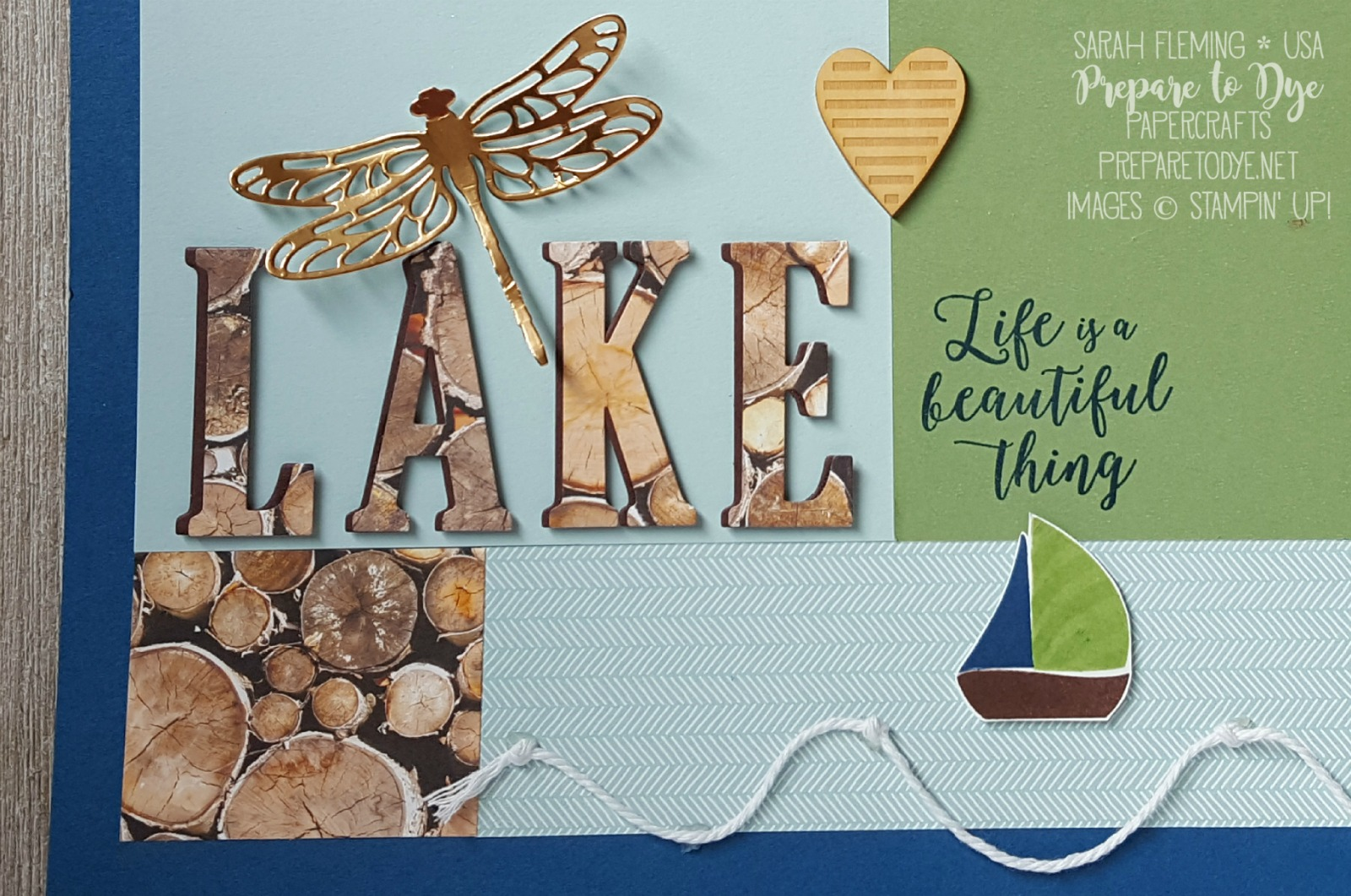Stampin' Up! scrapbook page with Colorful Seasons, Swirly Bird, Detailed Dragonfly thinlits, and Wood Textures DSP stack