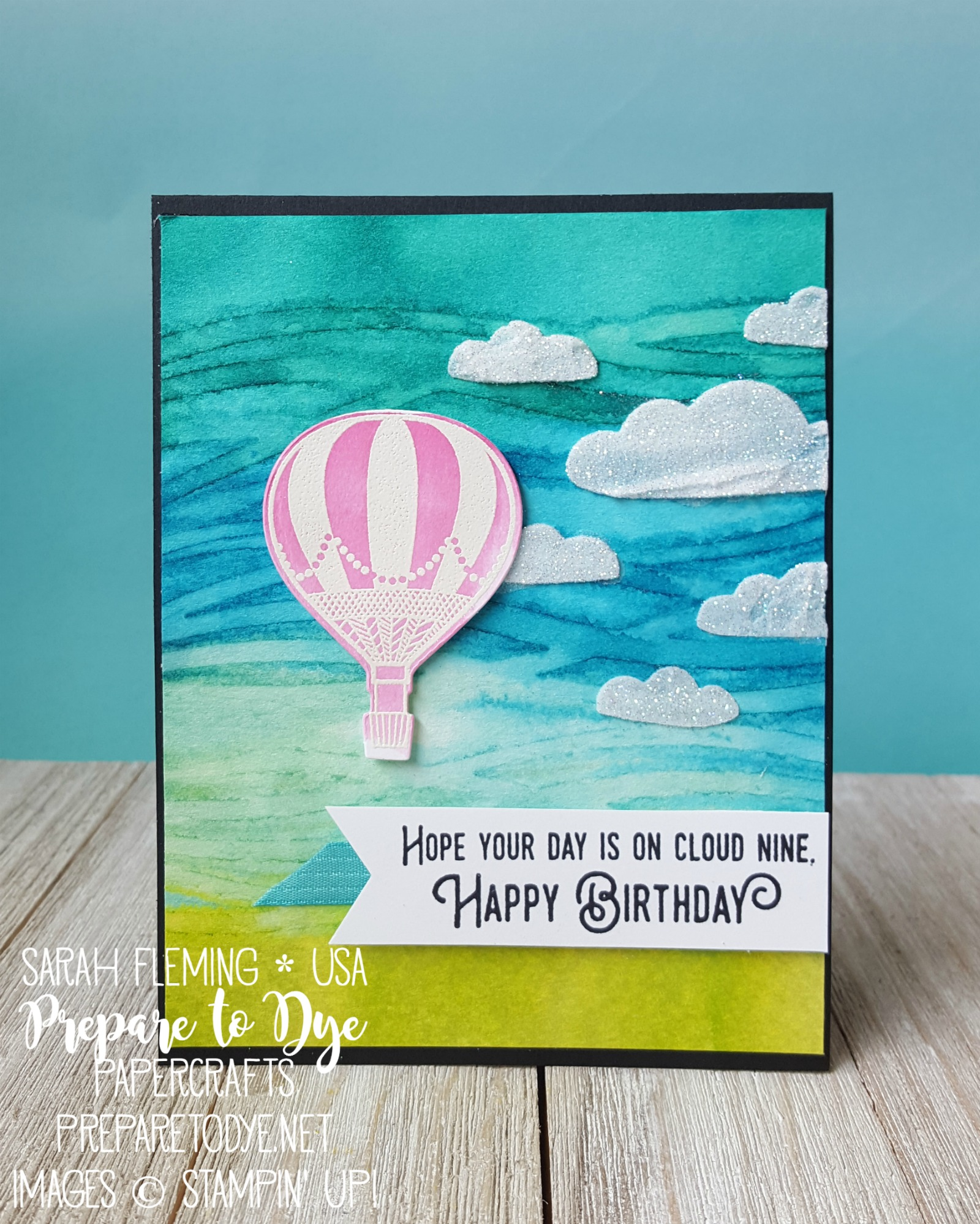 Stampin' Up! Lift Me Up stamp set with Up & Away thinlits - watercolor imprint background - embossing paste, texture paste - Sarah Fleming - Prepare to Dye Papercrafts