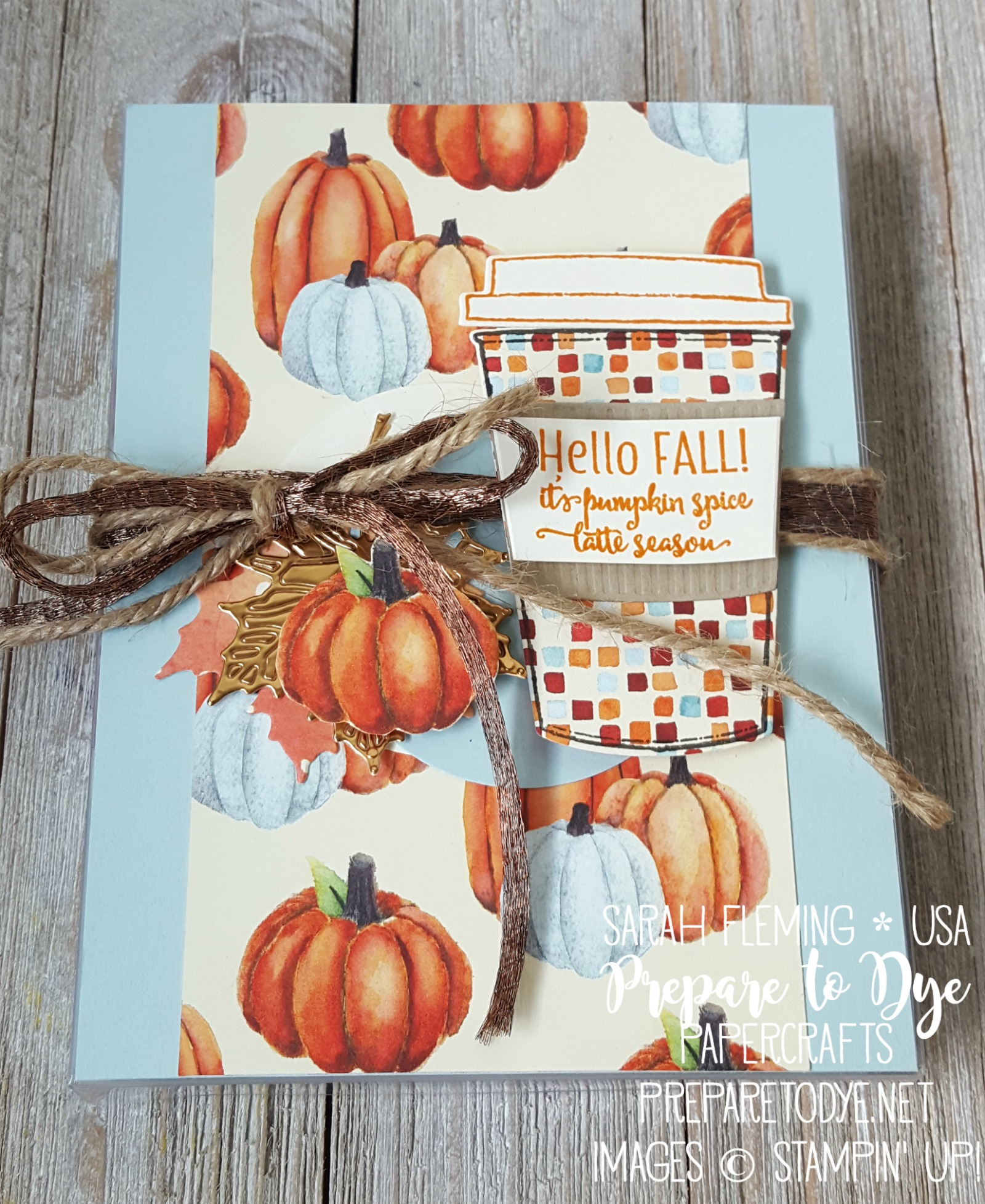 Stampin' Up! coffee-themed fall teachers gifts with Painted Autumn paper, Coffee Cups framelits, Merry Cafe stamps, Seasonal Layers thinlits - Sarah Fleming - Prepare to Dye Papercrafts