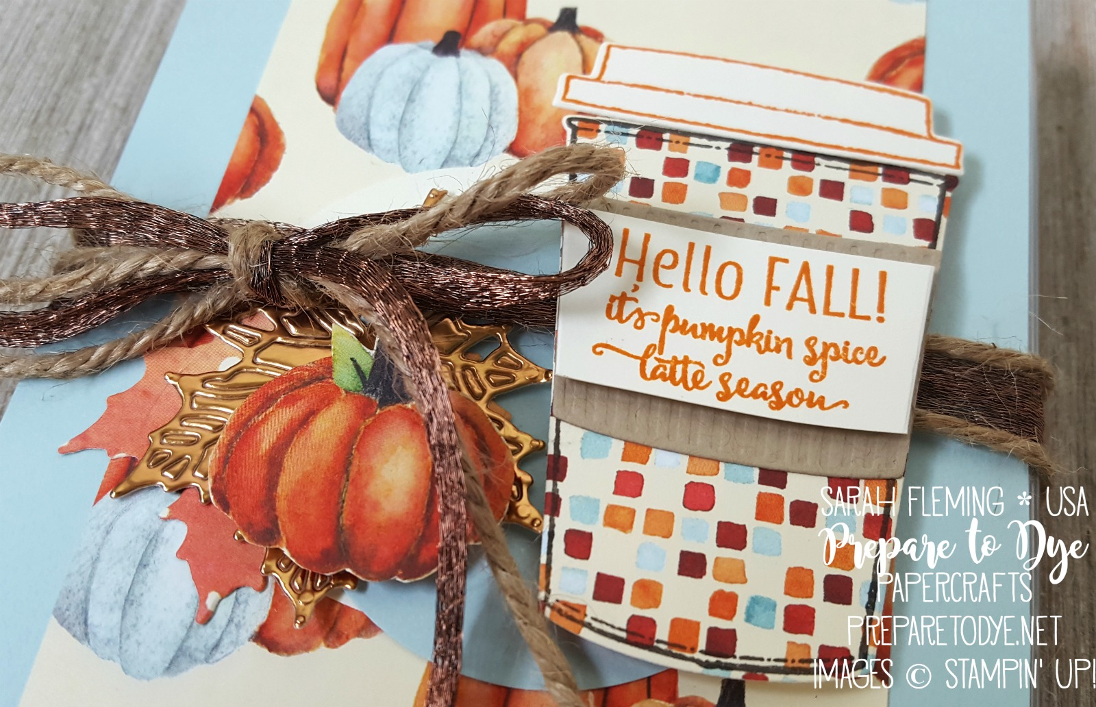 Stampin' Up! coffee-themed fall teachers gifts with Painted Autumn paper, Coffee Cups framelits, Merry Cafe stamps, Seasonal Layers thinlits, acetate card boxes - Sarah Fleming - Prepare to Dye Papercrafts