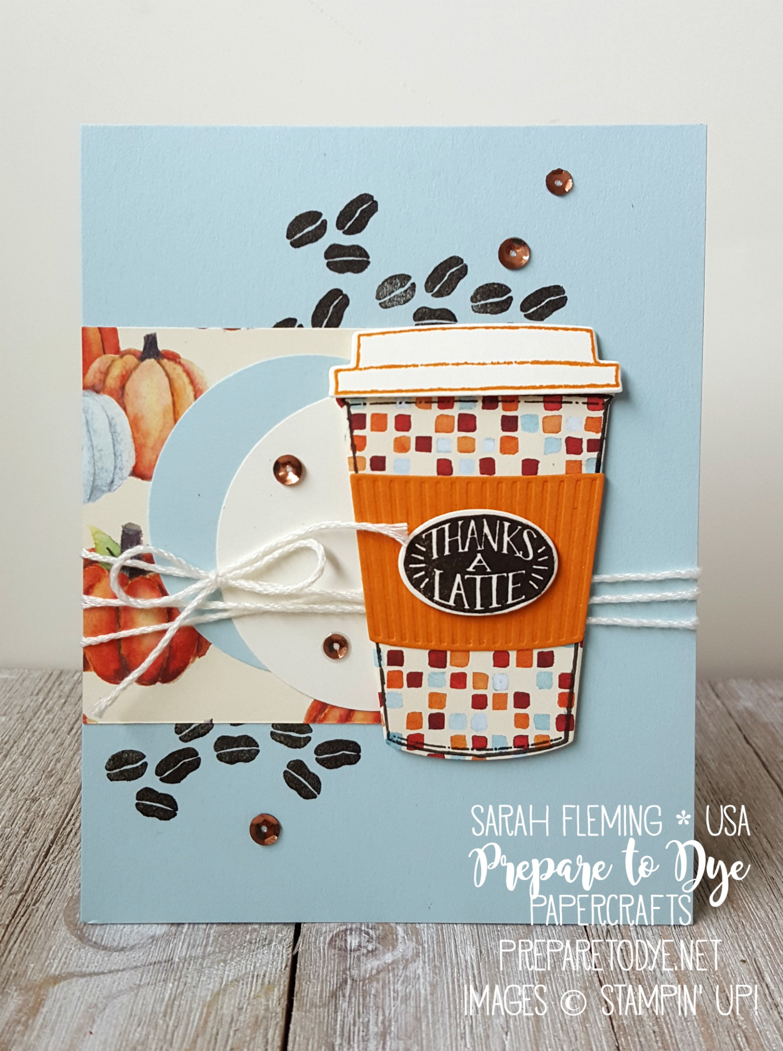 Stampin' Up! fall teachers gifts with Painted Autumn paper, Coffee Cafe bundle and Coffee Cups framelits - Sarah Fleming - Prepare to Dye Papercrafts