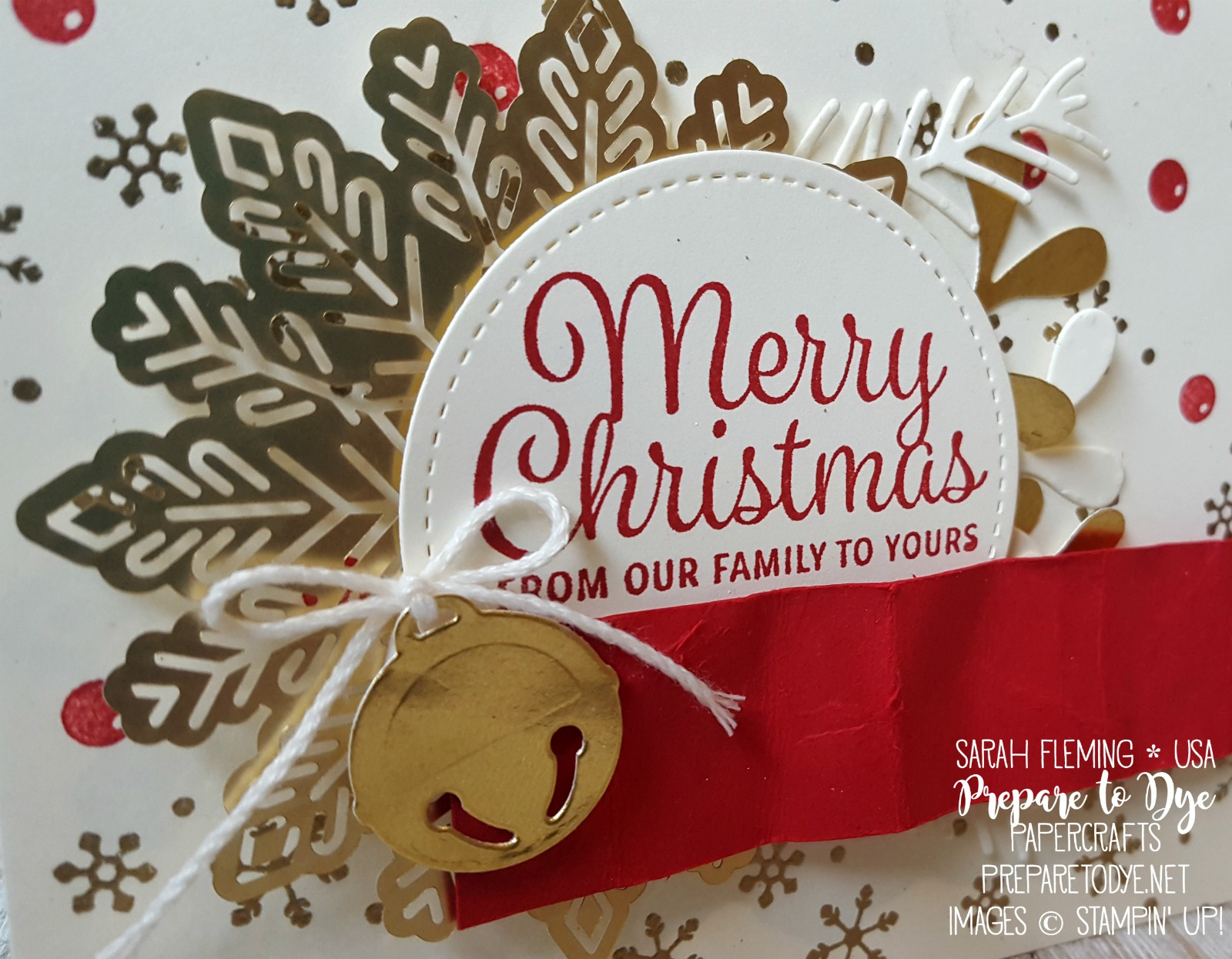 Stampin' Up! Tags & Trimmings bundle with Snowflake Sentiments, Foil Snowflakes - handmade Christmas card - heat embossing - Sarah Fleming - Prepare to Dye Papercrafts