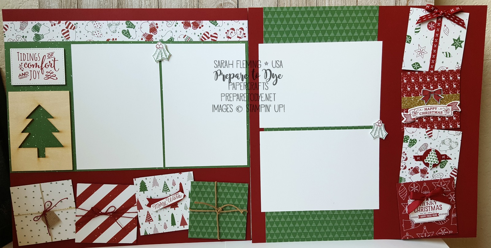 Stampin' Up! scrapbook page with Be Merry paper, Christmas Pines, Holly Berry Happiness, Labels to Love, Oh What Fun, Smitten Mittens, Seasonal Bells - two page layout - Sarah Fleming - Prepare to Dye Papercrafts