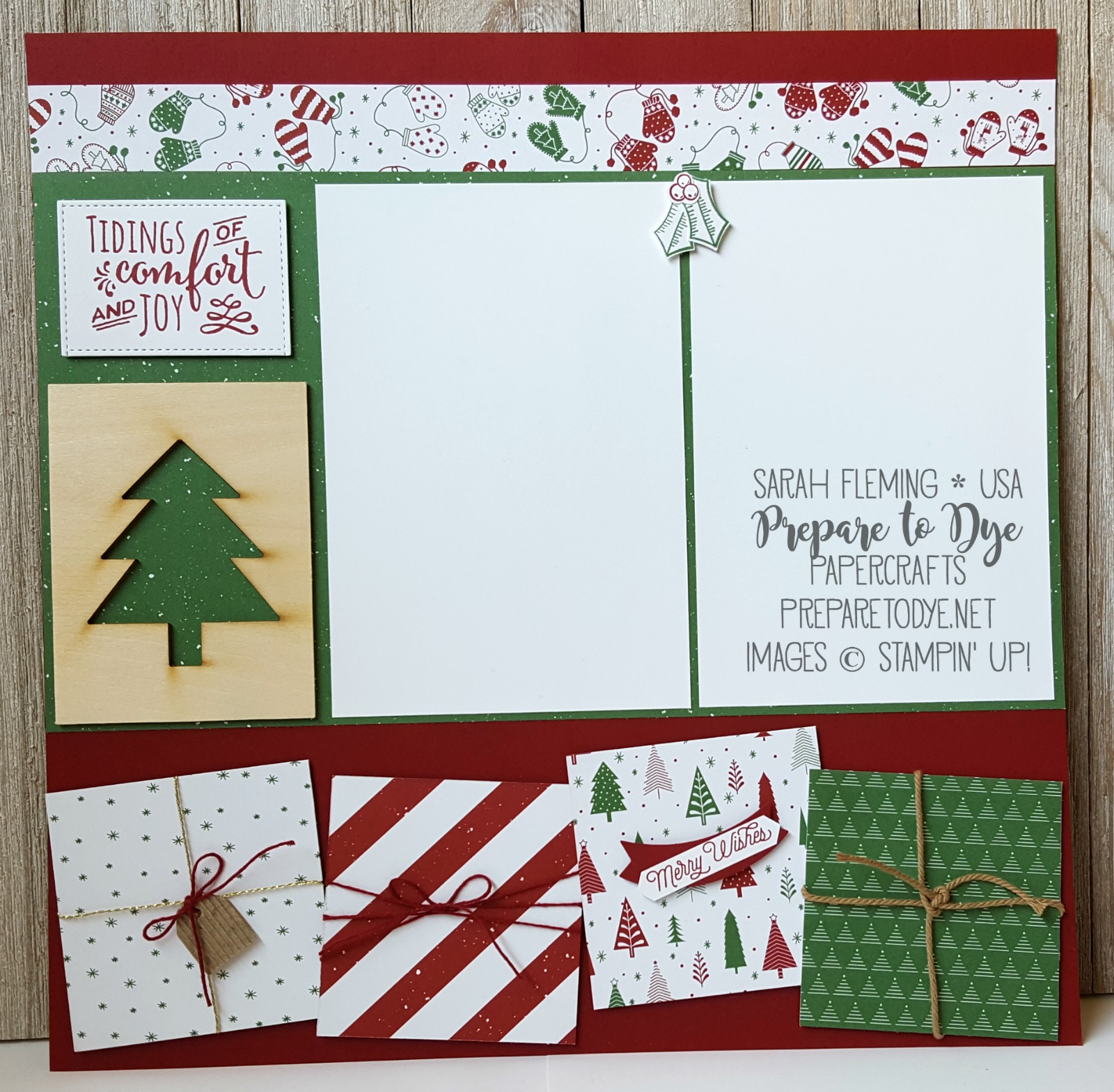 Stampin' Up! scrapbook page with Be Merry paper, Christmas Pines, Holly Berry Happiness, Labels to Love, Oh What Fun, Smitten Mittens - two page layout - Sarah Fleming - Prepare to Dye Papercrafts