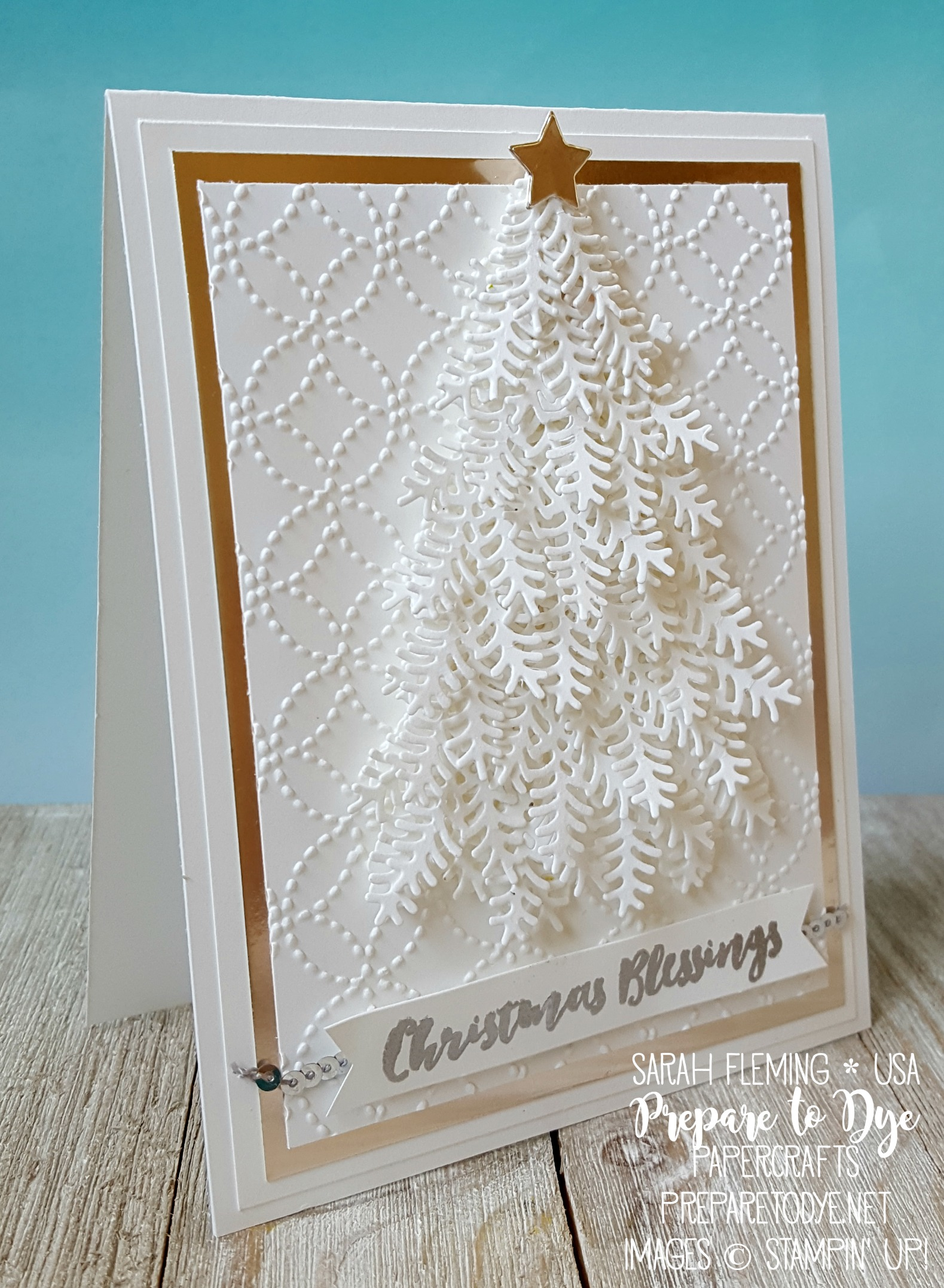 Stampin' Up! Holiday Catalog sneak peek - Christmas Staircase thinlits, Quilt Top Embossing Folder, Christmas Pines stamps, new Champagne Foil Sheets
