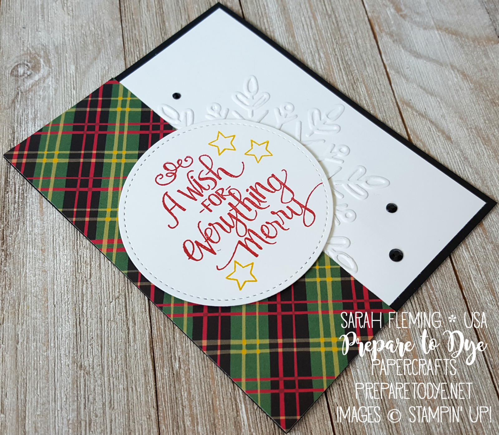 Stampin' Up! Ready for Christmas with Winter Wonder embossing folder & Christmas Around the World paper - easy handmade Christmas card - Sarah Fleming - Prepare to Dye Papercrafts
