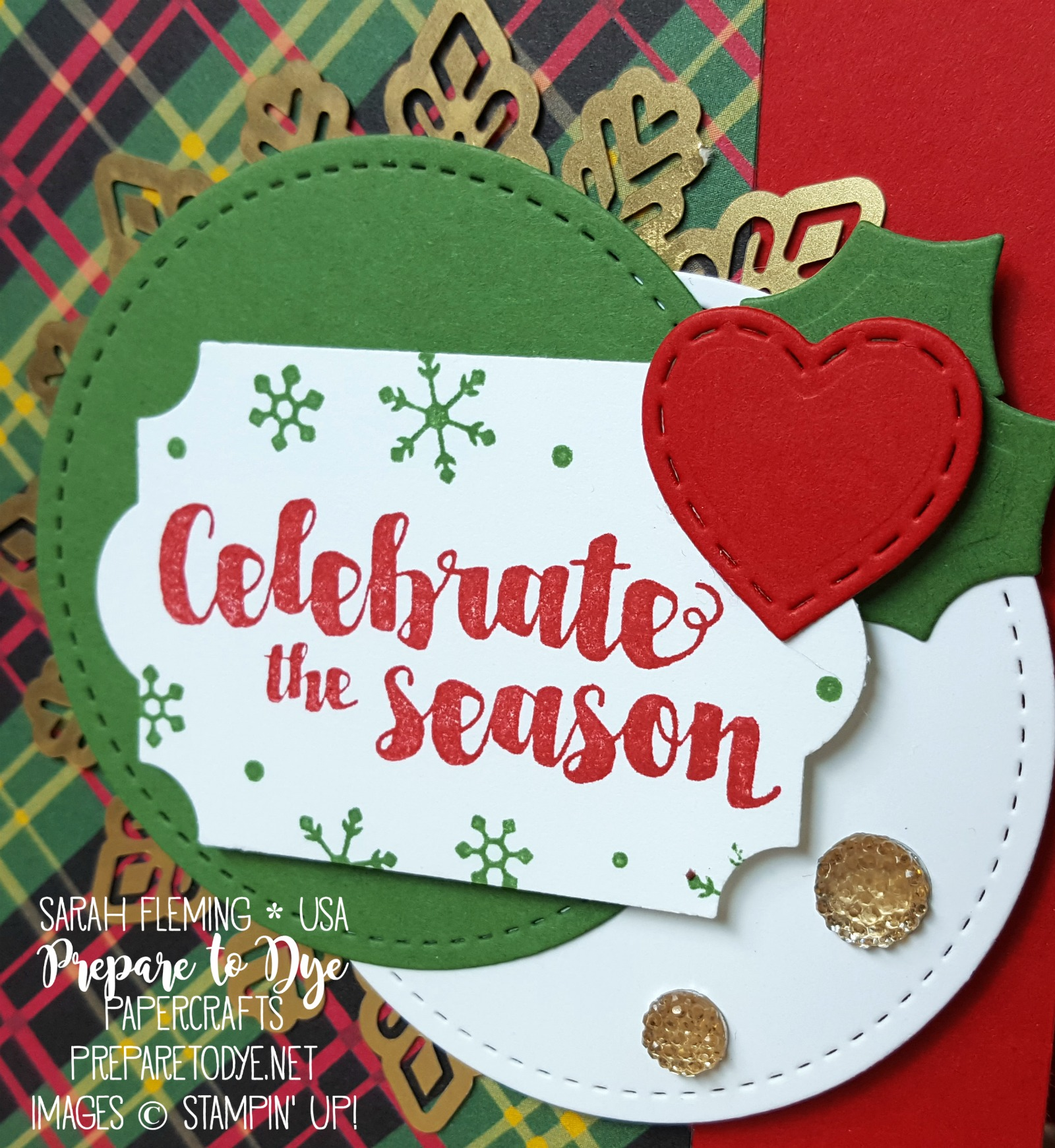 Stampin' Up! handmade Christmas card - Tags & Trimmings bundle with Trim Your Stocking thinlits, Foil Snowflakes, Christmas Around the World paper, Stitched Shapes framelits, Everyday Label punch - Sarah Fleming - Prepare to Dye Papercrafts