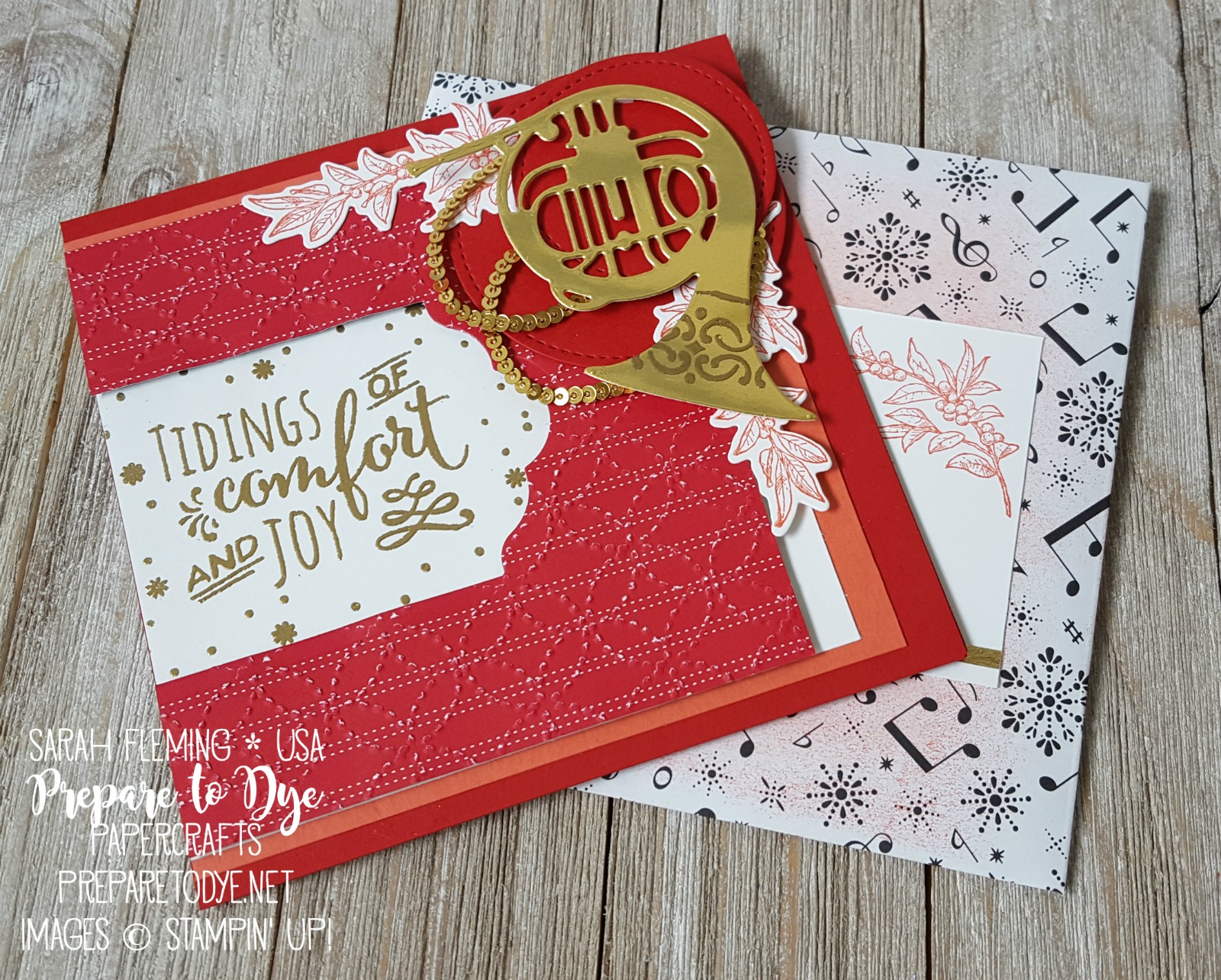 Stampin' Up! Musical Season and Christmas Pines stamps with Musical Instruments framelits, Quilt Top embossing folder, Quilted Christmas and Merry Music paper - Crazy Crafters Blog Hop - Sarah Fleming - Prepare to Dye Papercrafts