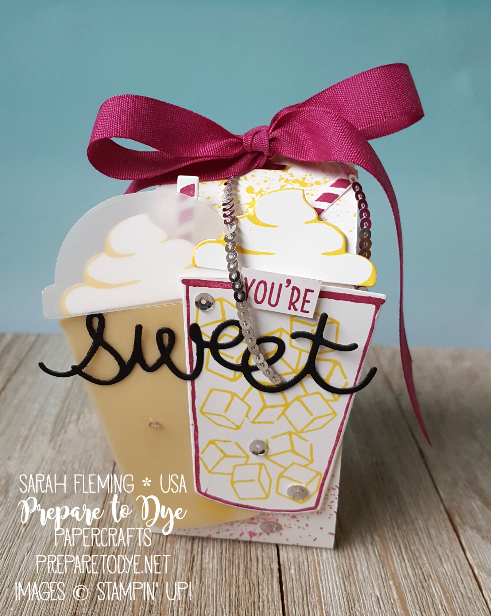 Stampin' Up! Coffee Cafe bundle with Cool Treats, Cupcake Cutout thinlits, Coffee Cups framelits - treat packaging - teachers gifts - Ice Cubes gum packaging - Sarah Fleming - Prepare to Dye Papercrafts