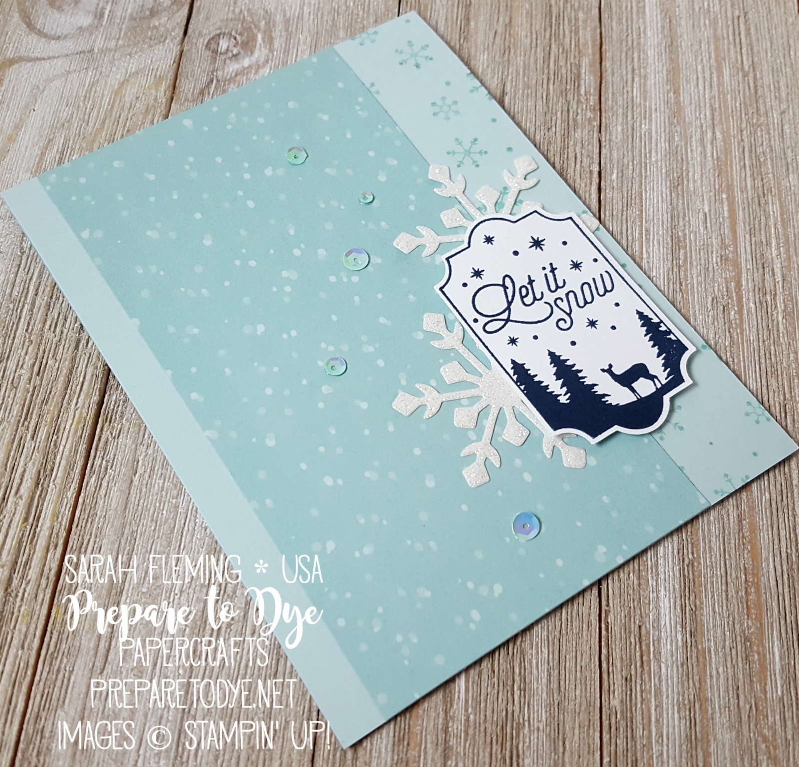 Stampin' Up! Merry Little Labels bundle with Everyday Label punch, Tags & Trimmings bundle, Trim Your Stocking thinlits, Christmas Around the World paper - handmade Christmas holiday card - Sarah Fleming - Prepare to Dye Papercrafts
