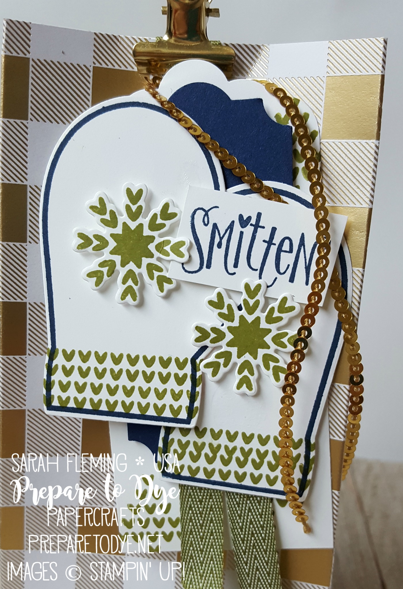 Stampin' Up! handmade gift bag with Year of Cheer paper, Smitten Mittens bundle, Many Mittens framelits - Sarah Fleming - Prepare to Dye Papercrafts