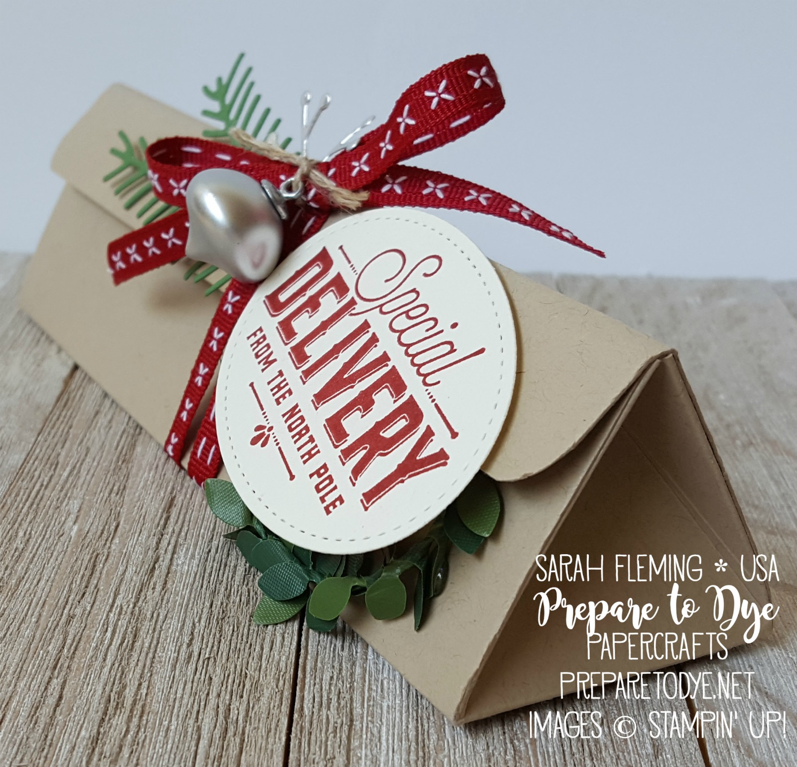 Stampin' Up! gift packaging - handmade triangle box for Hershey's nuggets - Merry Little Labels, Stitched Shapes framelits, Pretty Pines thinlits, boxwood wreaths, Mini Ornaments - Sarah Fleming - Prepare to Dye Papercrafts