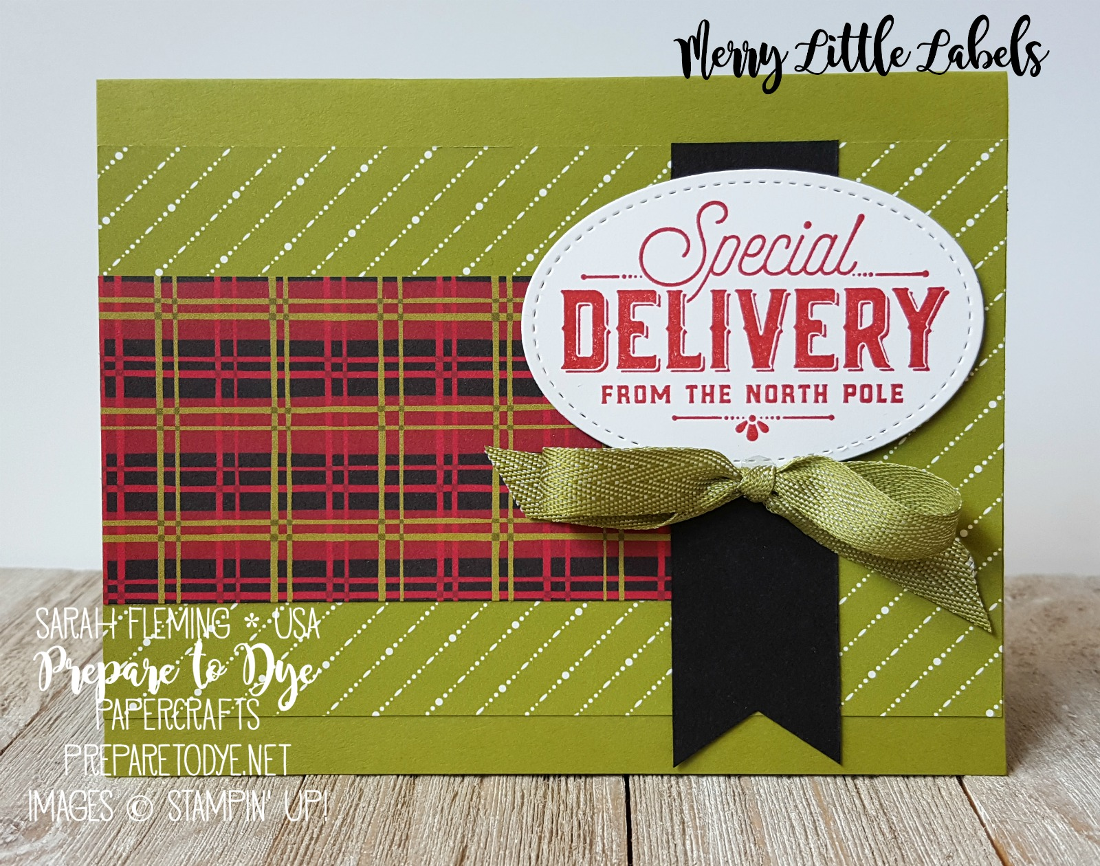 "Stampin' Up! handmade Christmas card - Merry Little Labels with Merry Little Christmas paper, Christmas Around the World paper, 3/8"" Mini Chevron Ribbon - Sarah Fleming - Prepare to Dye Papercrafts"