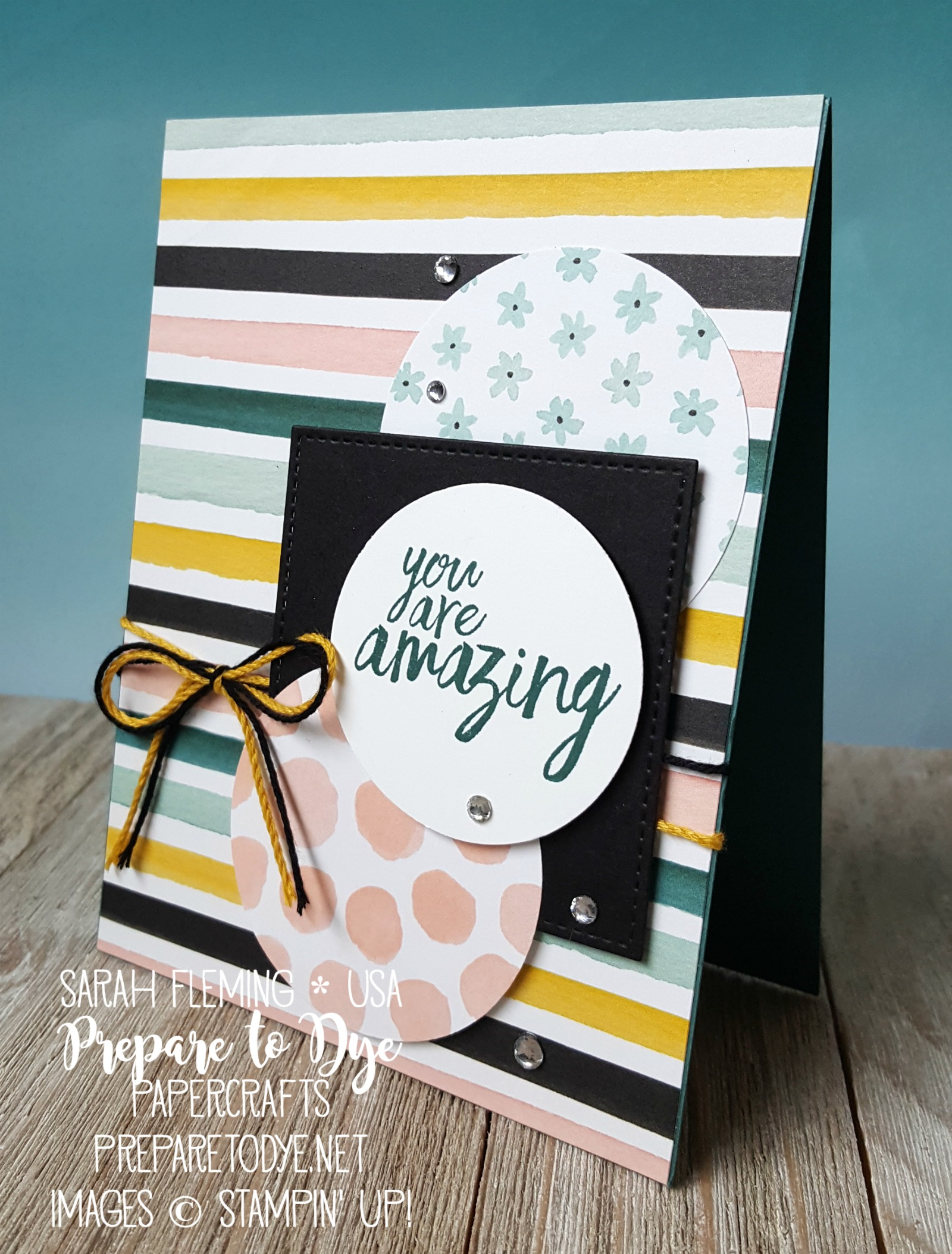Stampin' Up! Whole Lot of Lovely designer series paper, All Things Thanks stamps handmade friend card thank you card - October 2017 designer series paper sale - Sarah Fleming - Prepare to Dye Papercrafts