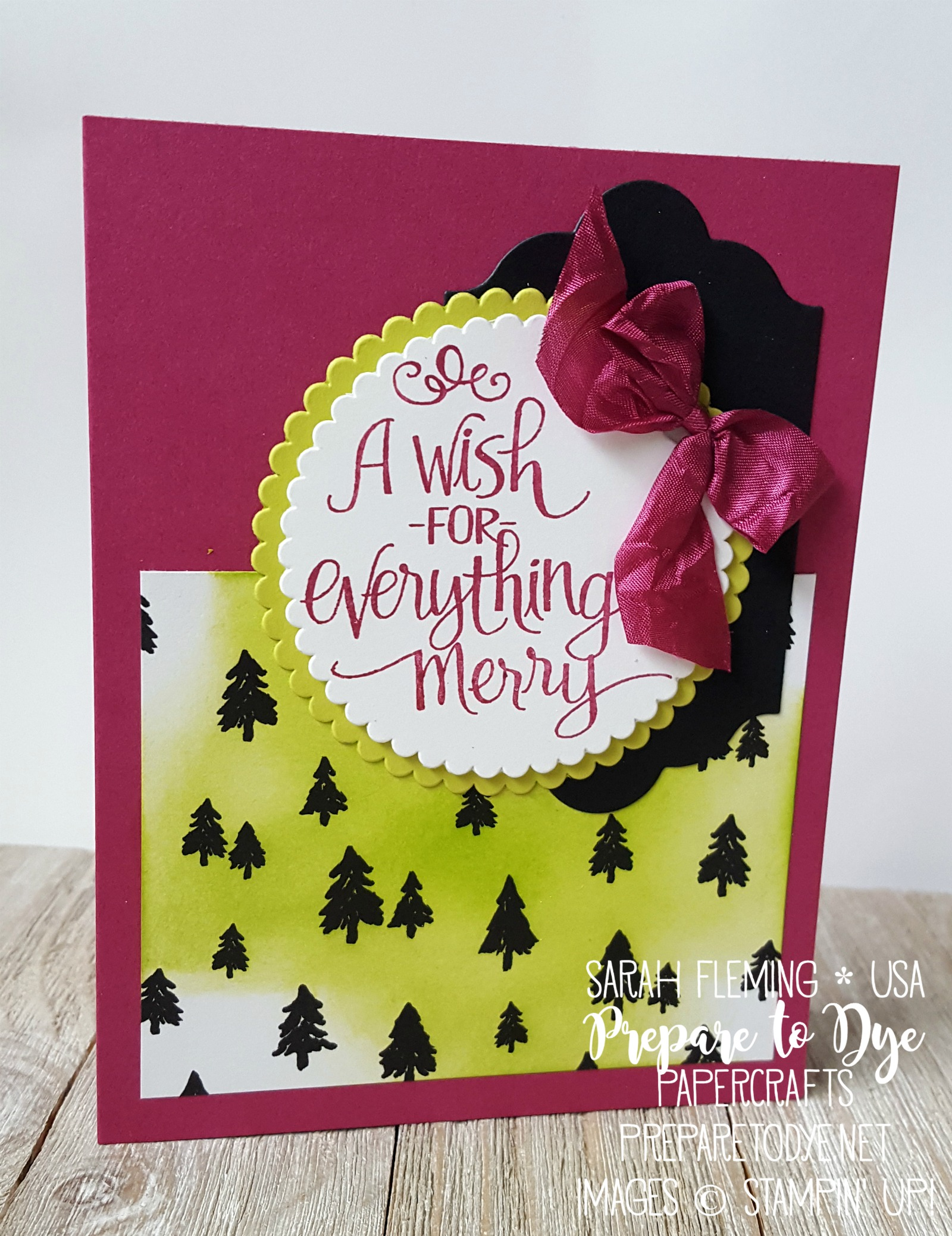 Stampin' Up! Ready For Christmas, Merry Little Christmas paper, Layering Circles framelits, Lots of Labels framelits - handmade Christmas holiday card - Sarah Fleming - Prepare to Dye Papercrafts