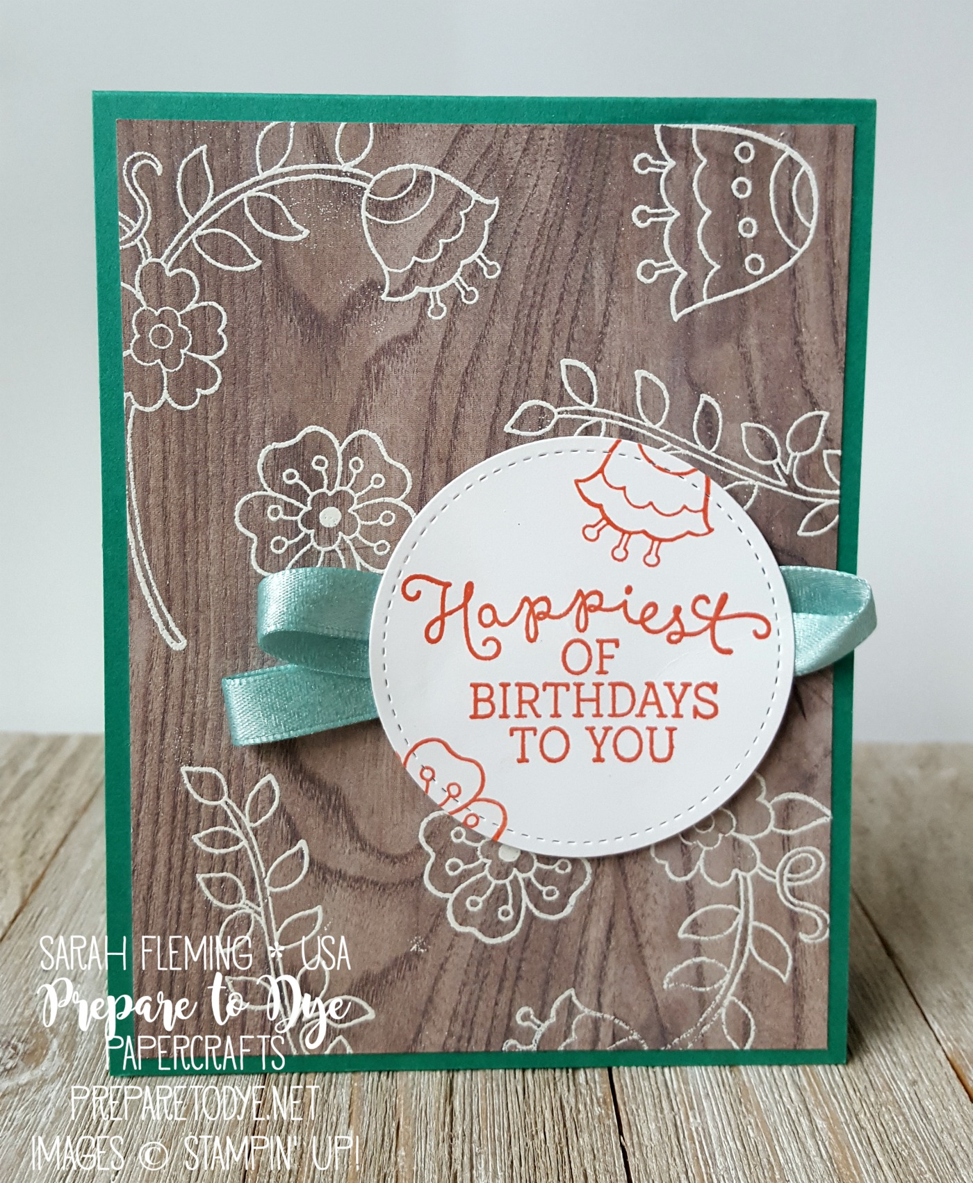 Stampin' Up! Wood Textures paper, Feathery Friends host stamp set, Birthday Blooms - handmade birthday card - Sarah Fleming - Prepare to Dye Papercrafts