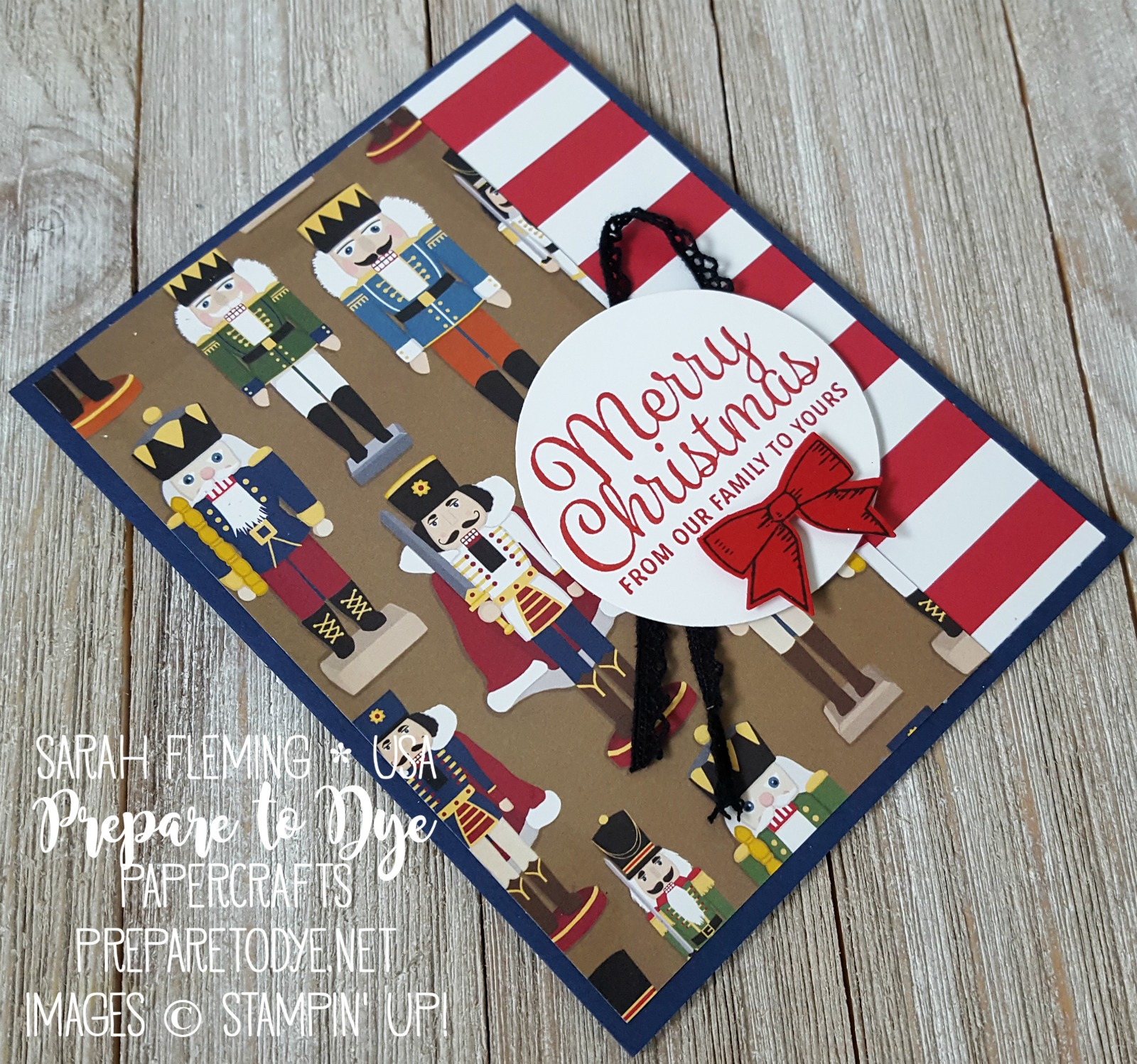 Stampin' Up! Christmas Around the World Paper with Snowflake Sentiments & Holly Berry Happiness, Vintage Crochet Trim - handmade Christmas card - Sarah Fleming - Prepare to Dye Papercrafts