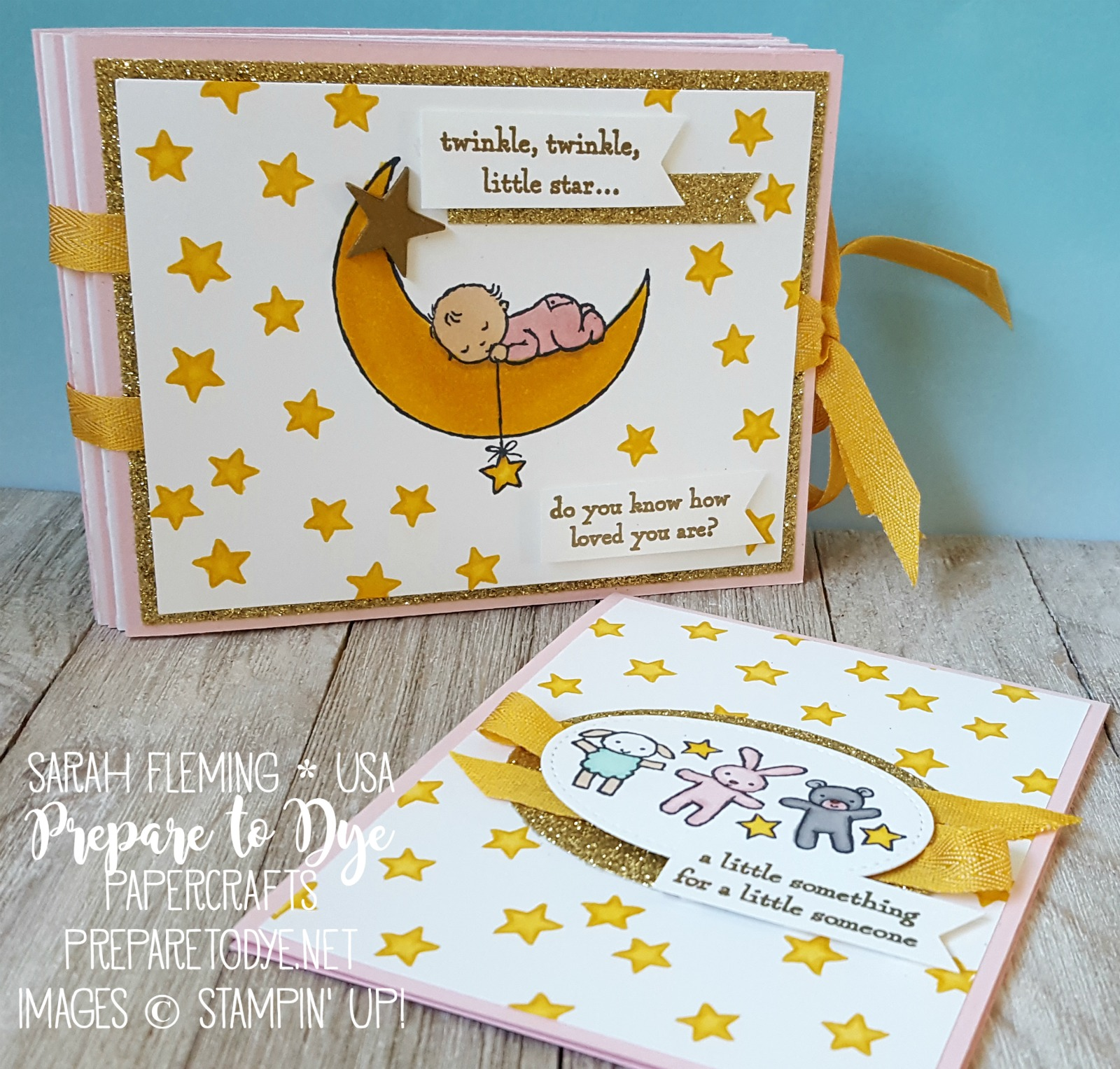 Stampin' Up! handmade baby gift set using Moon Baby and new Stampin' Blends alcohol markers - heat embossing - Kylie Bertucci's International Blog Highlight - Sarah Fleming - Prepare to Dye Papercrafts