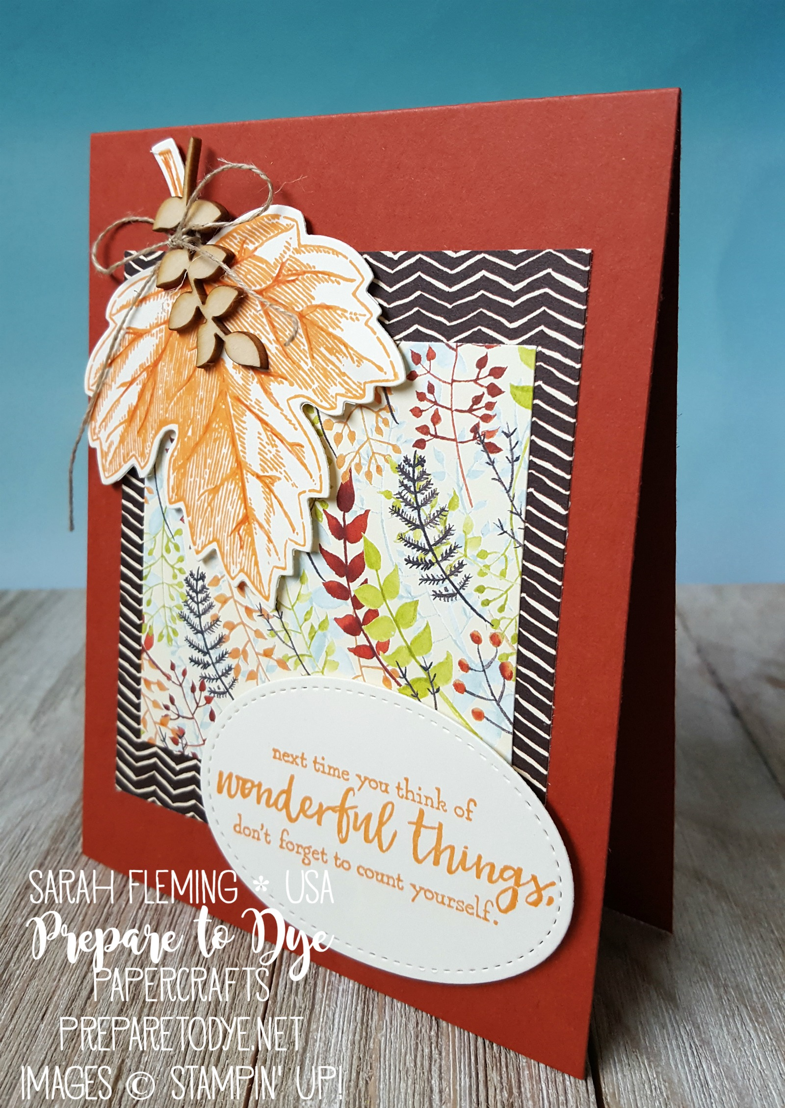 Stampin' Up! Just Add Text and Vintage Leaves with Painted Autumn paper & Touches of Nature Elements - October 2017 designer series paper DSP sale - Sarah Fleming - Prepare to Dye Papercrafts