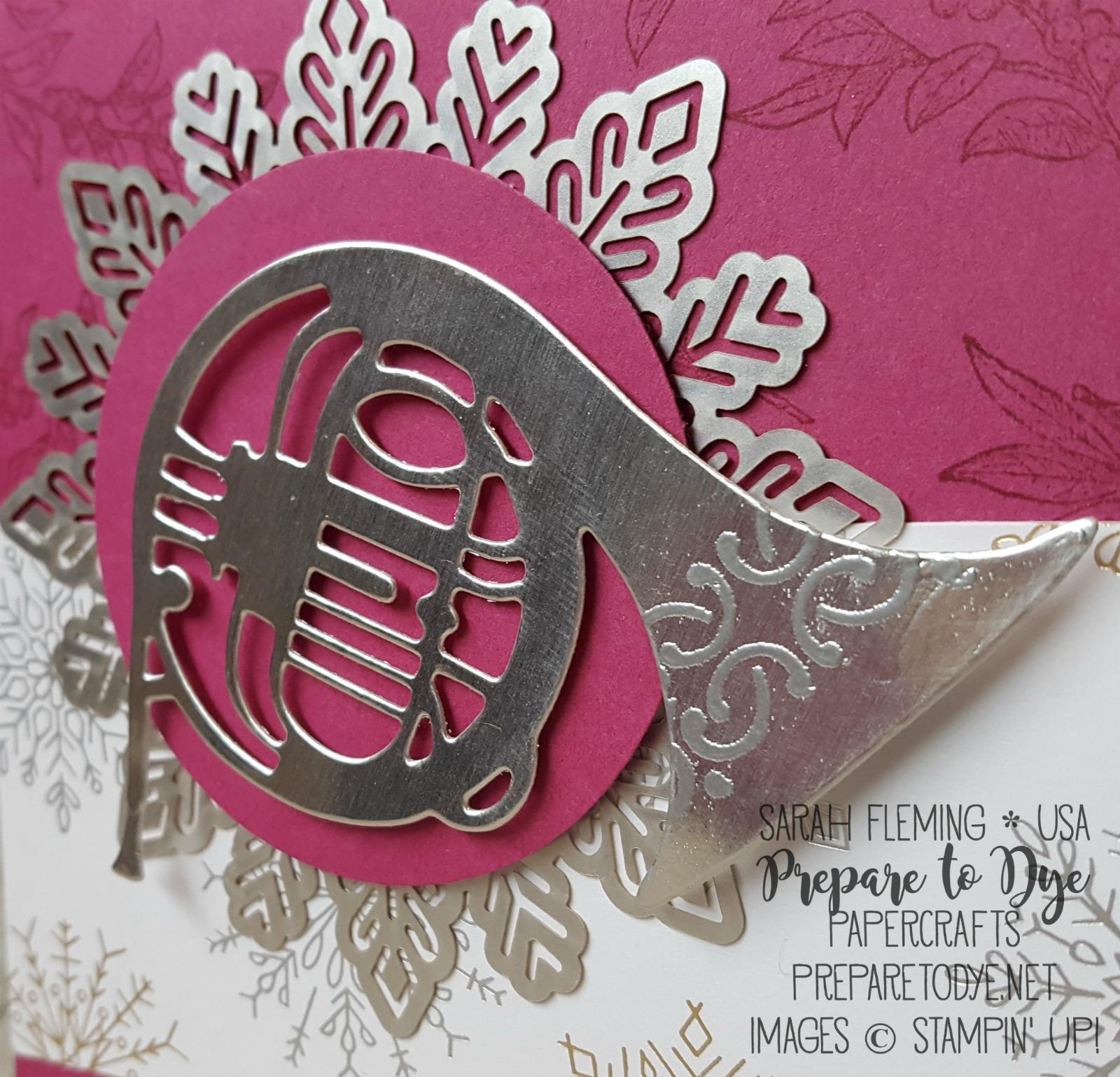 Stampin' Up! Musical Season bundle with Year of Cheer paper, Foil Snowflakes - handmade Christmas card - Sarah Fleming - Prepare to Dye Papercrafts