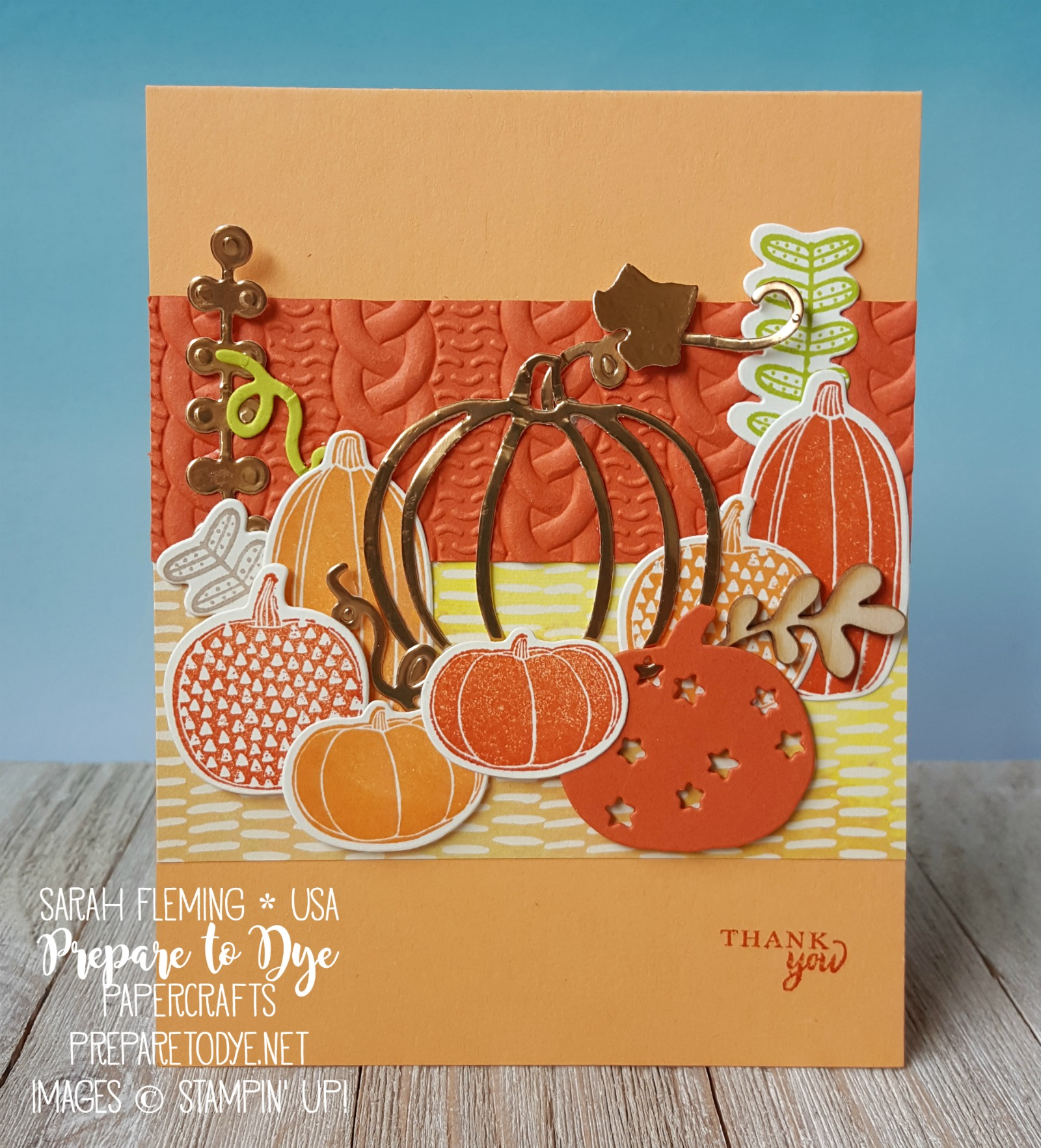 Stampin' Up! Pick a Pumpkin bundle with Patterned Pumpkins framelits, Painted Autumn designer series paper, Cable Knit embossing folder, Touches of Nature Elements - handmade autumn fall thank you card - Sarah Fleming - Prepare to Dye Papercrafts
