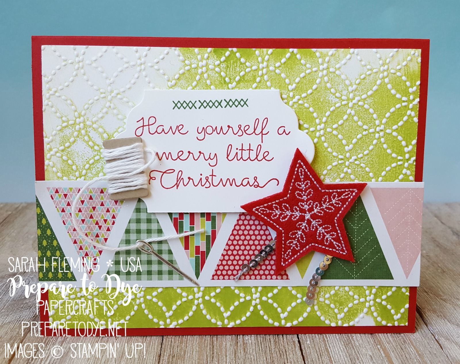 Stampin' Up! Christmas Quilt bundle with Quilt Builder Framelits, Quilt Top embossing folder, Quilted Christmas designer series paper, Stitched Felt Embellishments - inked embossing folder video tutorial - Sarah Fleming - Prepare to Dye Papercrafts